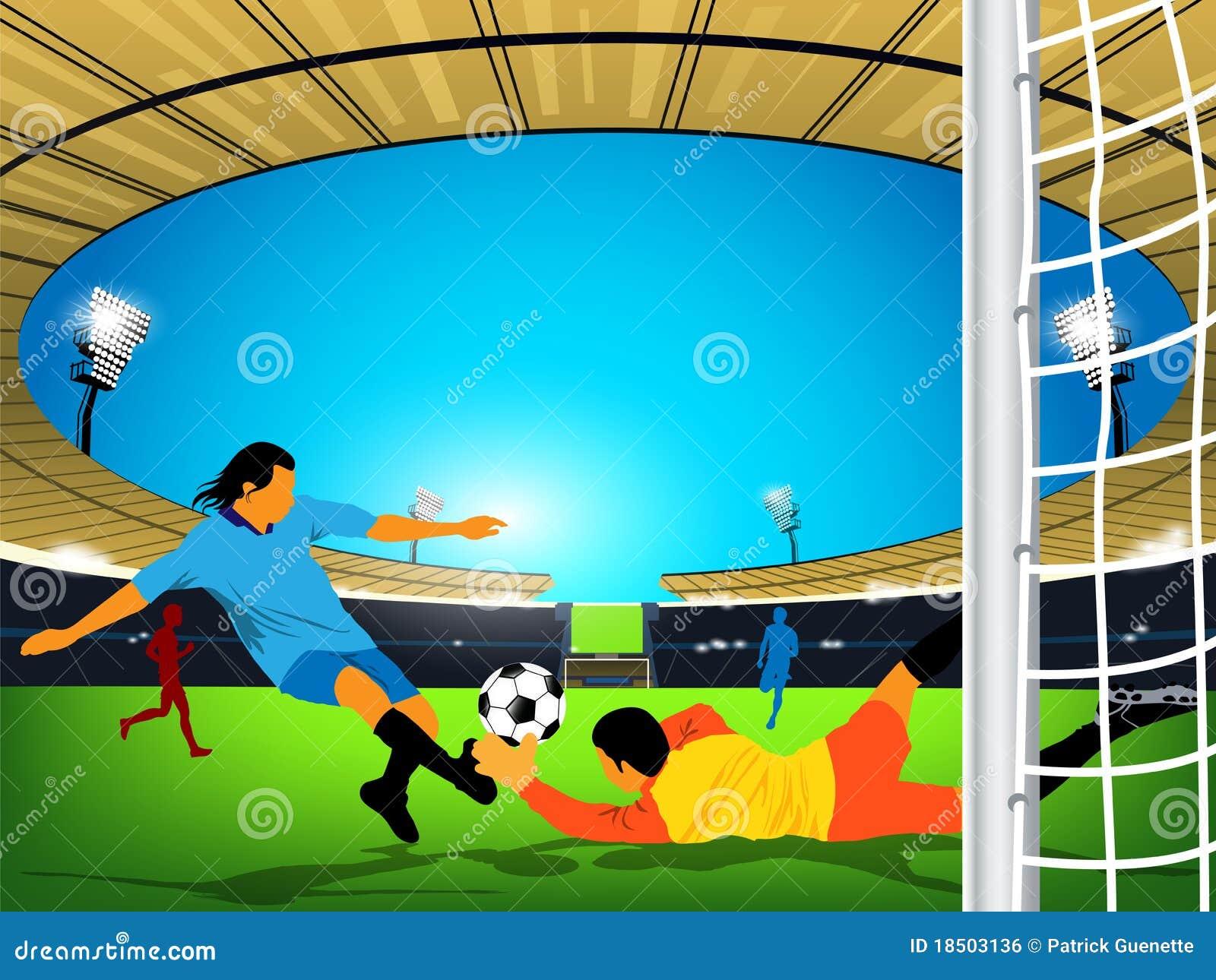 Jeu de football dans un stade extérieur. Énergie au but