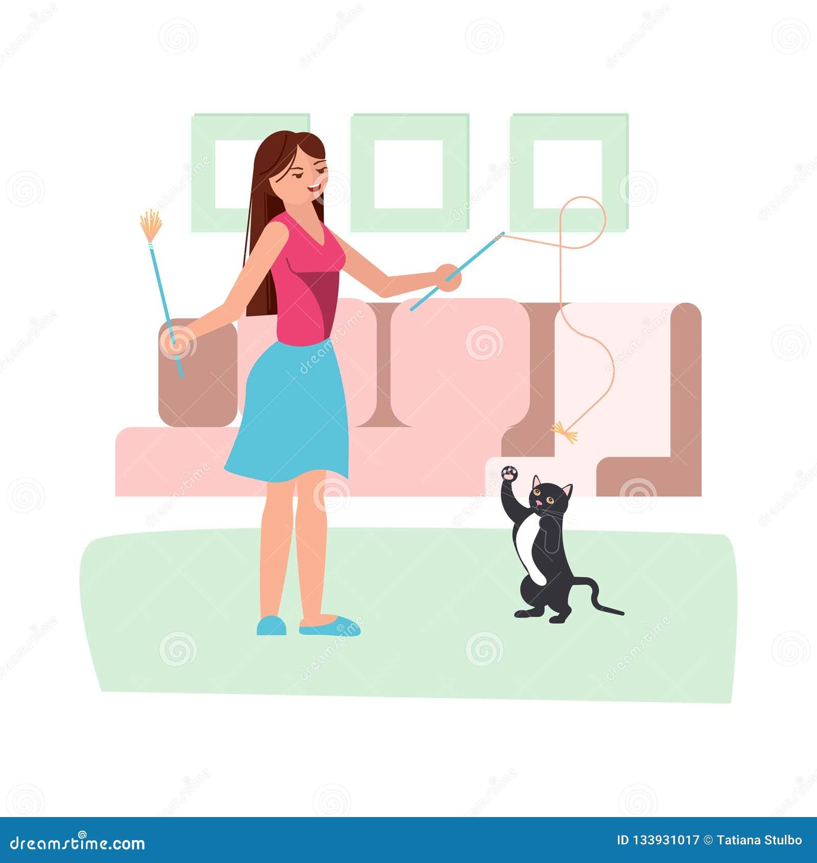 Jeu De Jeune Femme Avec Son Chat Noir Illustration De