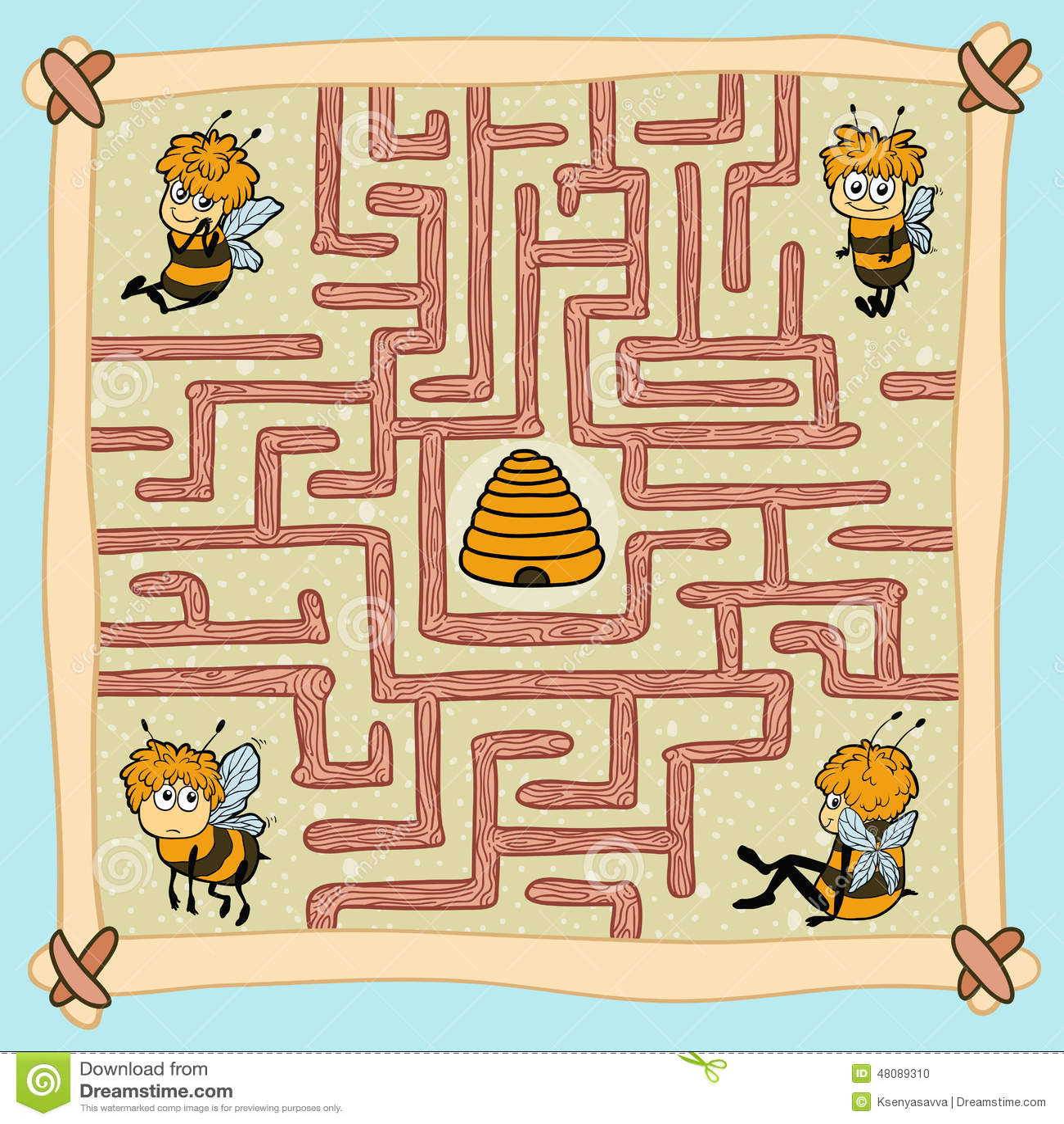 Jeu de labyrinthe aidez une des abeilles trouver leur for Jeu d architecture 3d