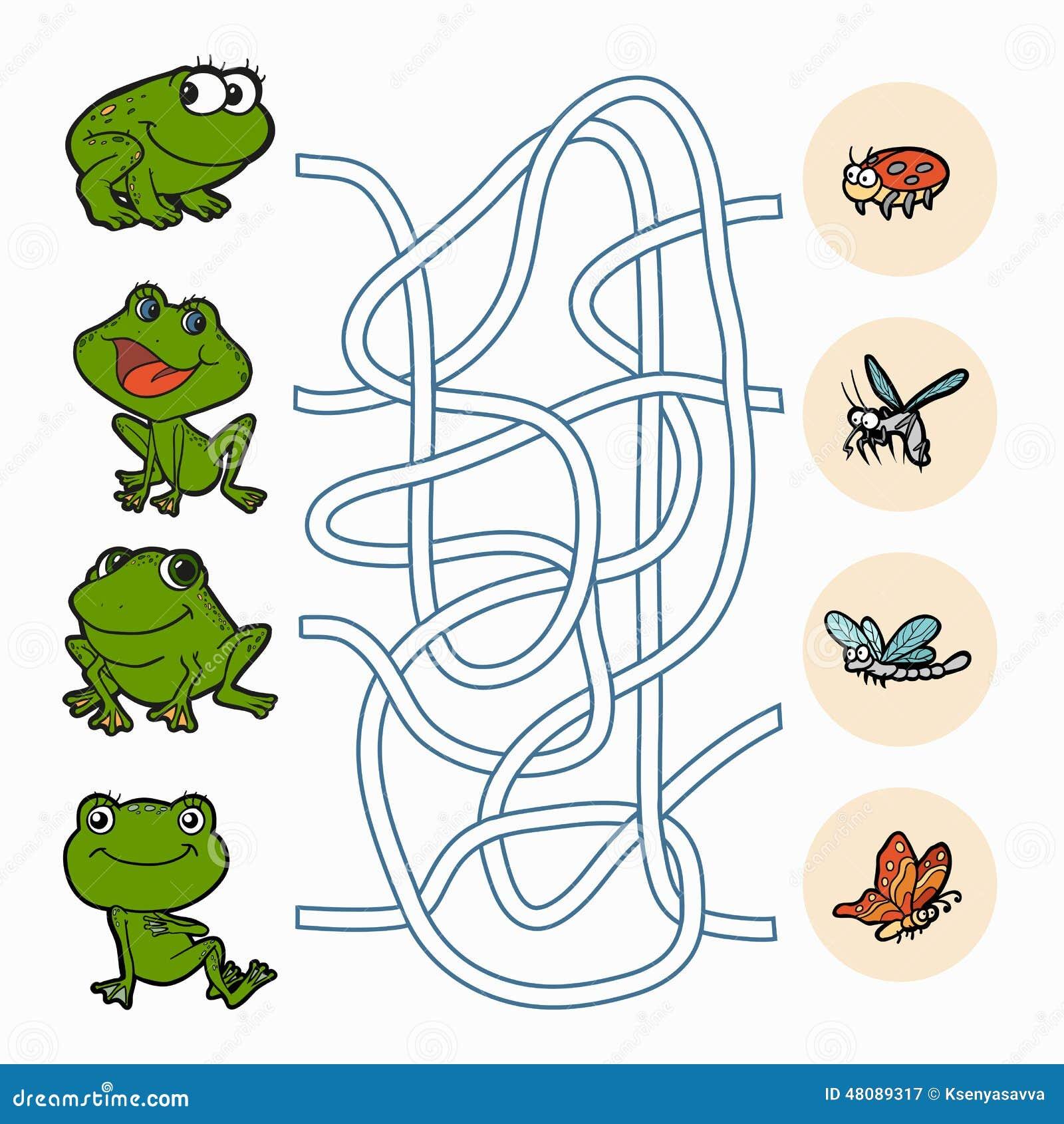 jeu de labyrinthe grenouilles d 39 aide pour trouver la nourriture illustration de vecteur. Black Bedroom Furniture Sets. Home Design Ideas