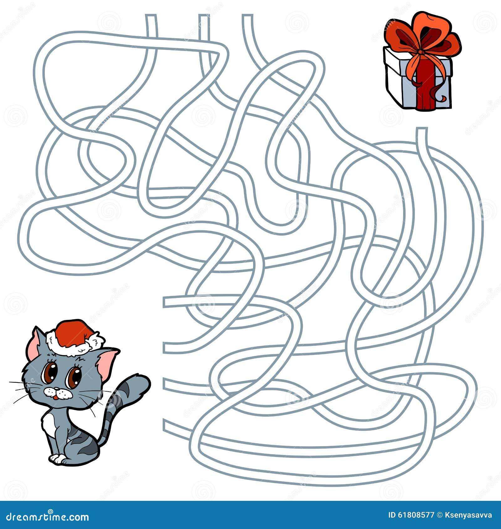 jeu de labyrinthe pour des enfants chat et cadeau de no l illustration de vecteur. Black Bedroom Furniture Sets. Home Design Ideas