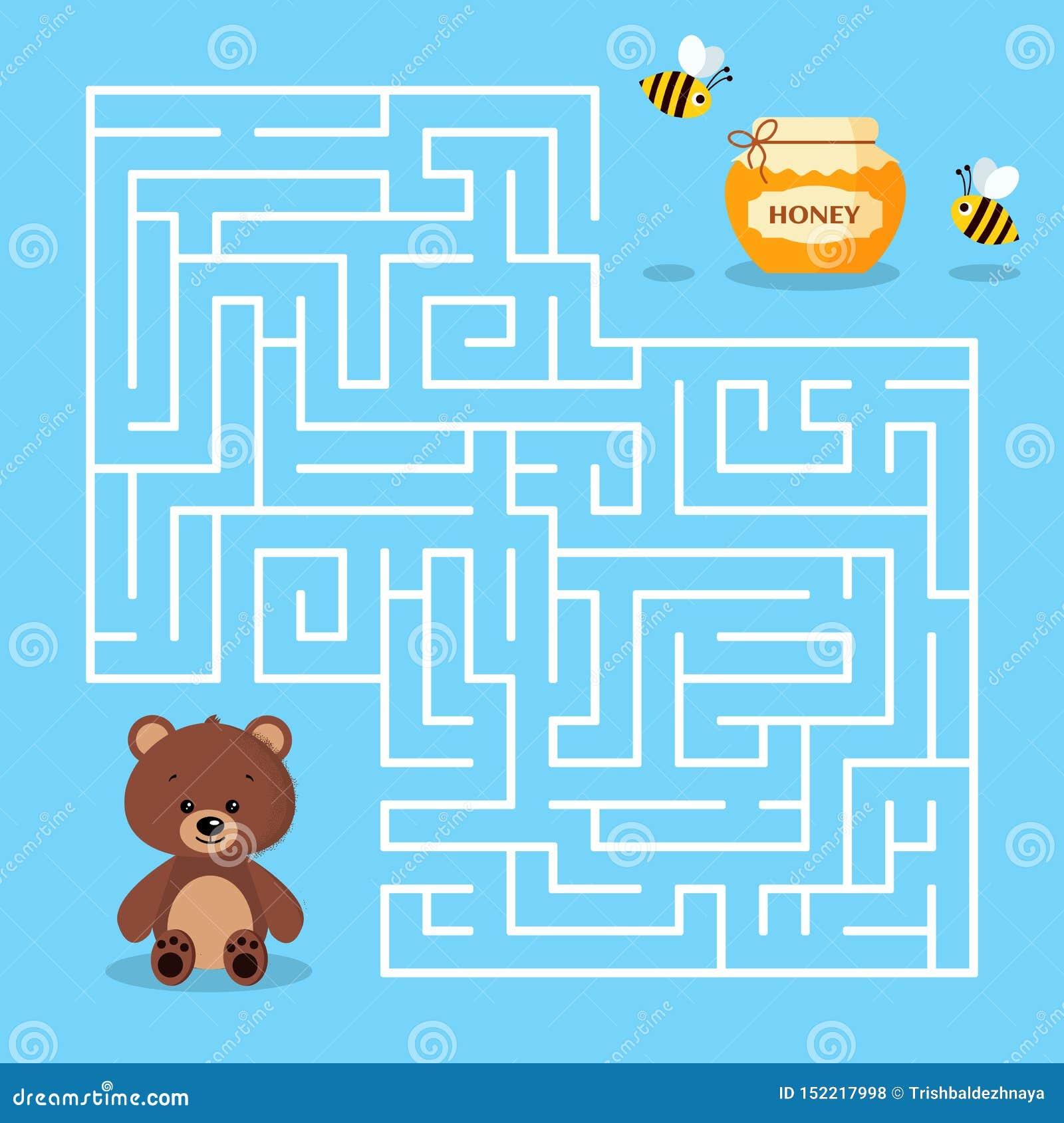 Jeu de labyrinthe pour les enfants préscolaires avec un pot mignon d ours brun de bande dessinée de labyrinthe de miel et d abeil
