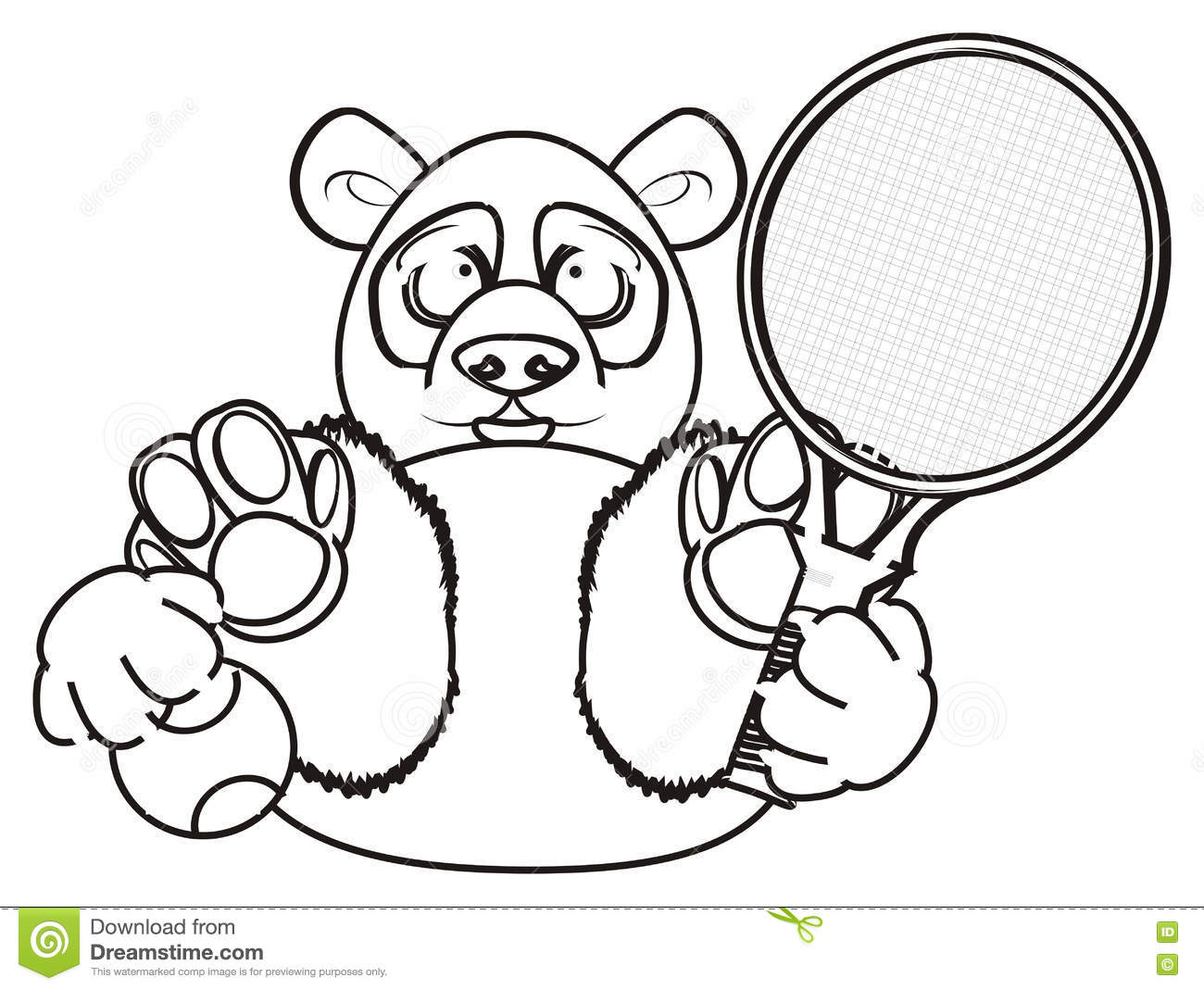 Jeu de panda de coloration au tennis