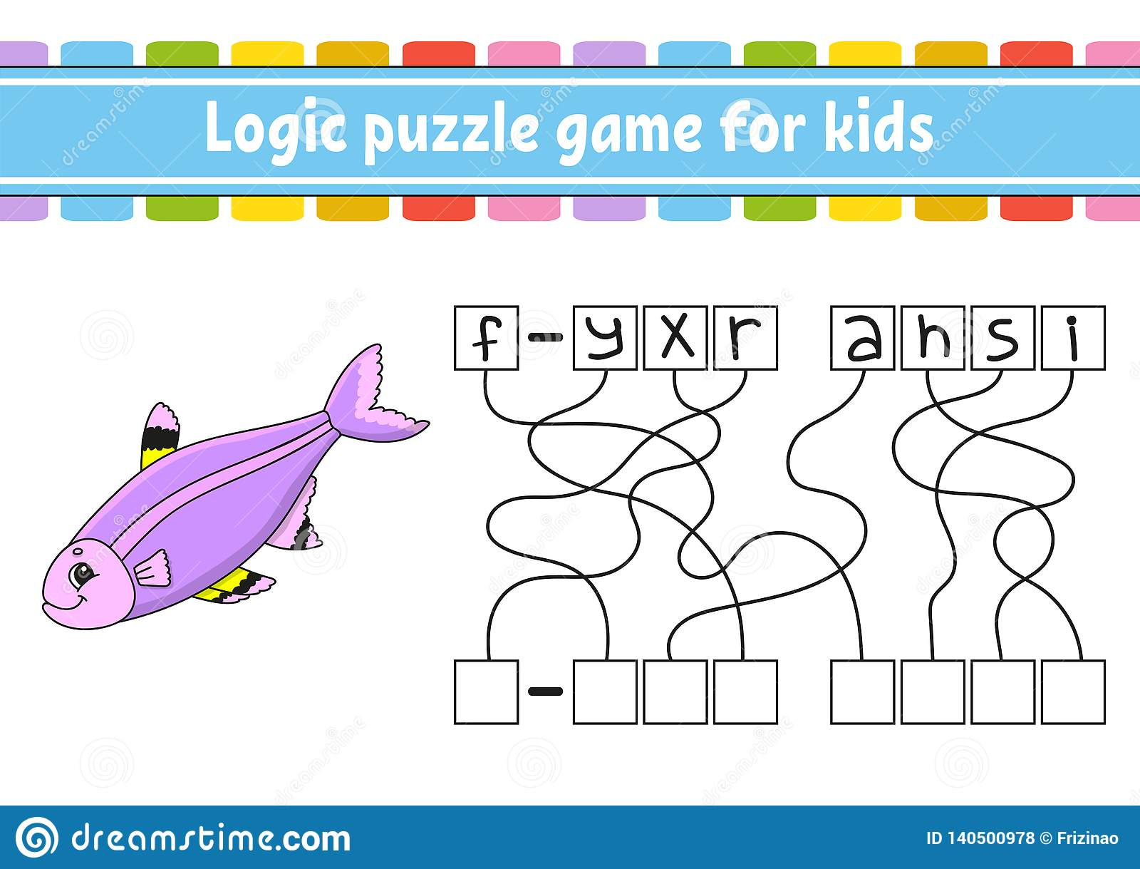Jeu de puzzle de logique Étude des mots pour des enfants Trouvez le nom caché Fiche de travail se développante d éducation Page d