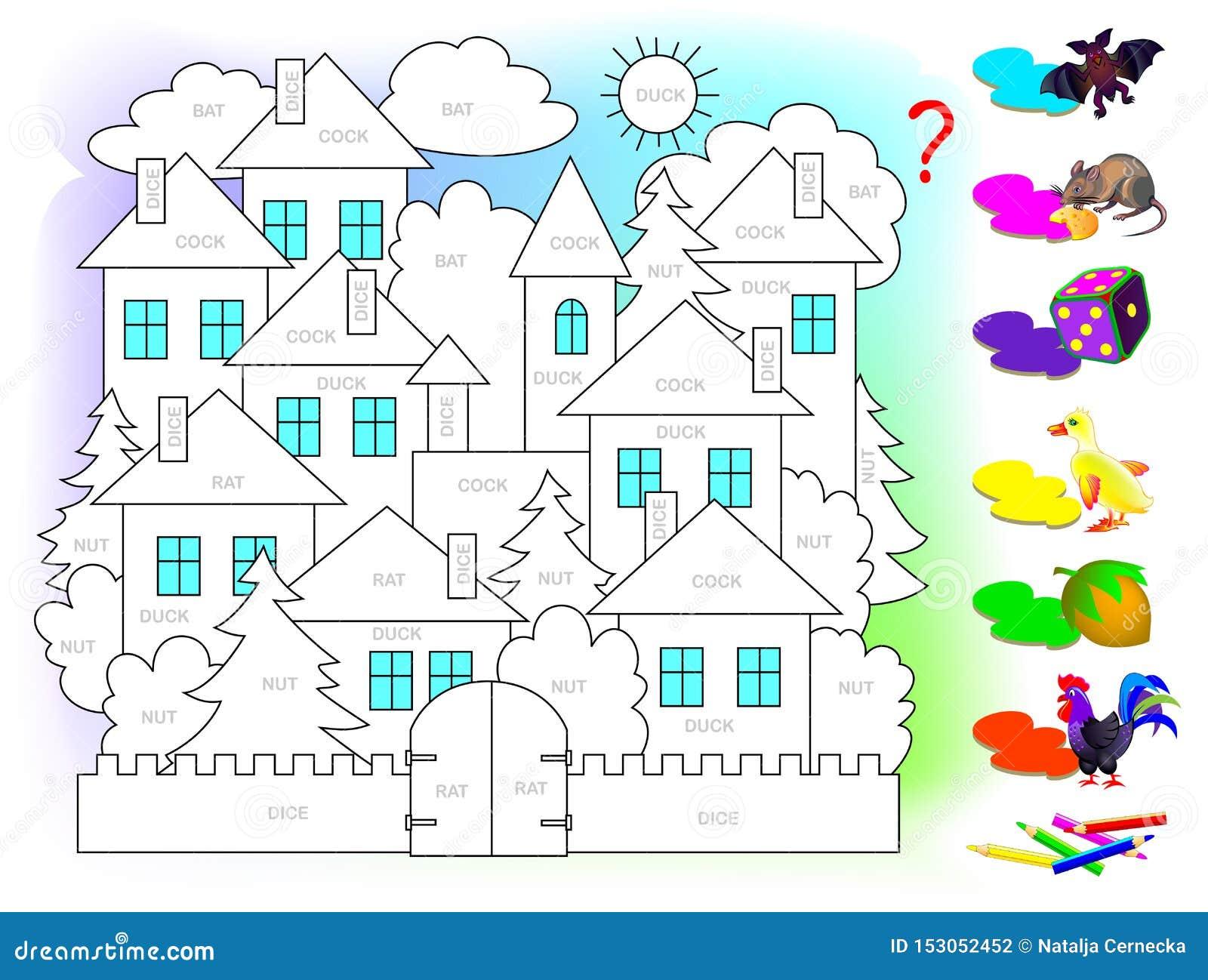 Jeu de puzzle de logique pour des enfants pour l anglais d étude Lisez les mots et peignez le tableau en couleurs correspondant à