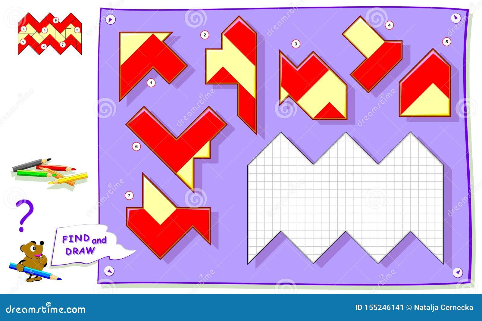 Jeu de puzzle de logique pour livre de coloriage de bébé Devez trouver l endroit pour chaque détail et peindre les places blanche