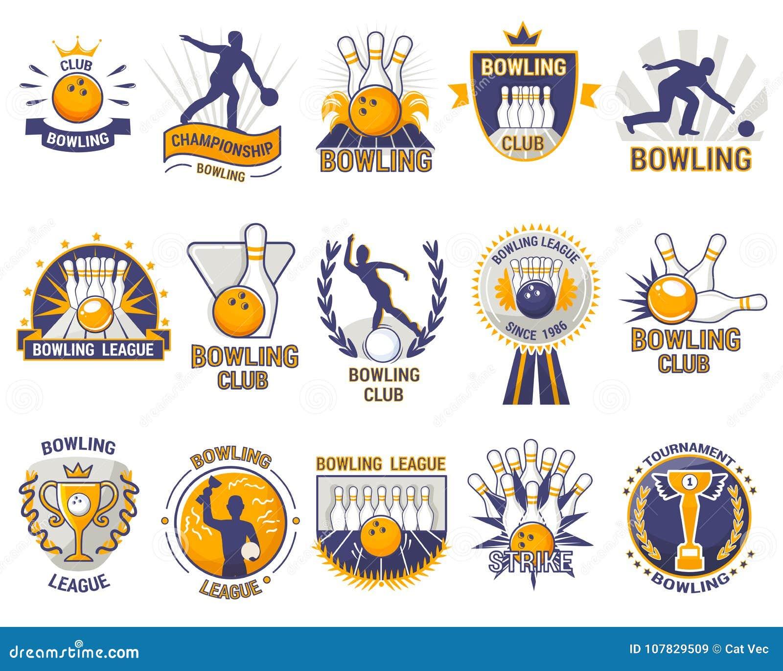 Jeu de sport de lanceur de vecteur de logo de bowling avec des quilles de boule d allée ou de bowling et grève sur le tournoi ou