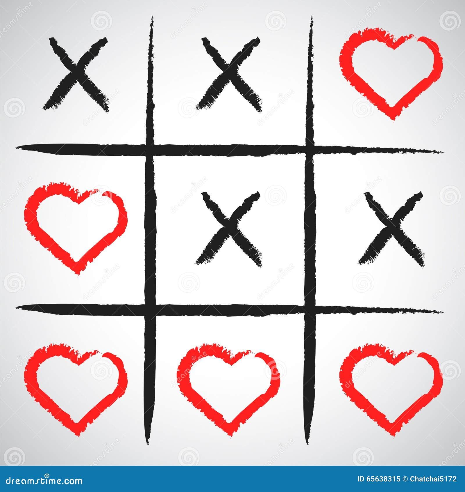 Jeu simple - jeu de X-O Éléments tirés par la main de tic-TAC-orteil Val heureux