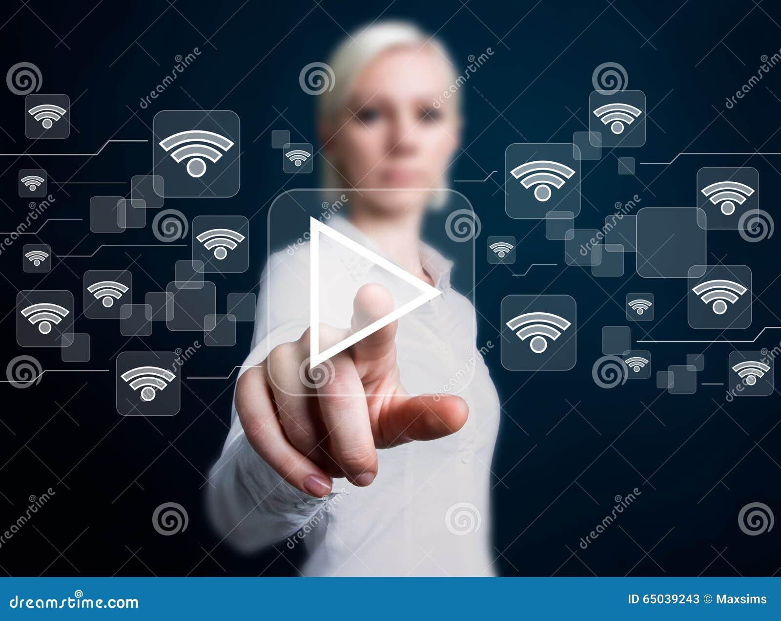 Jeu social de bouton d affaires de Wifi de réseau