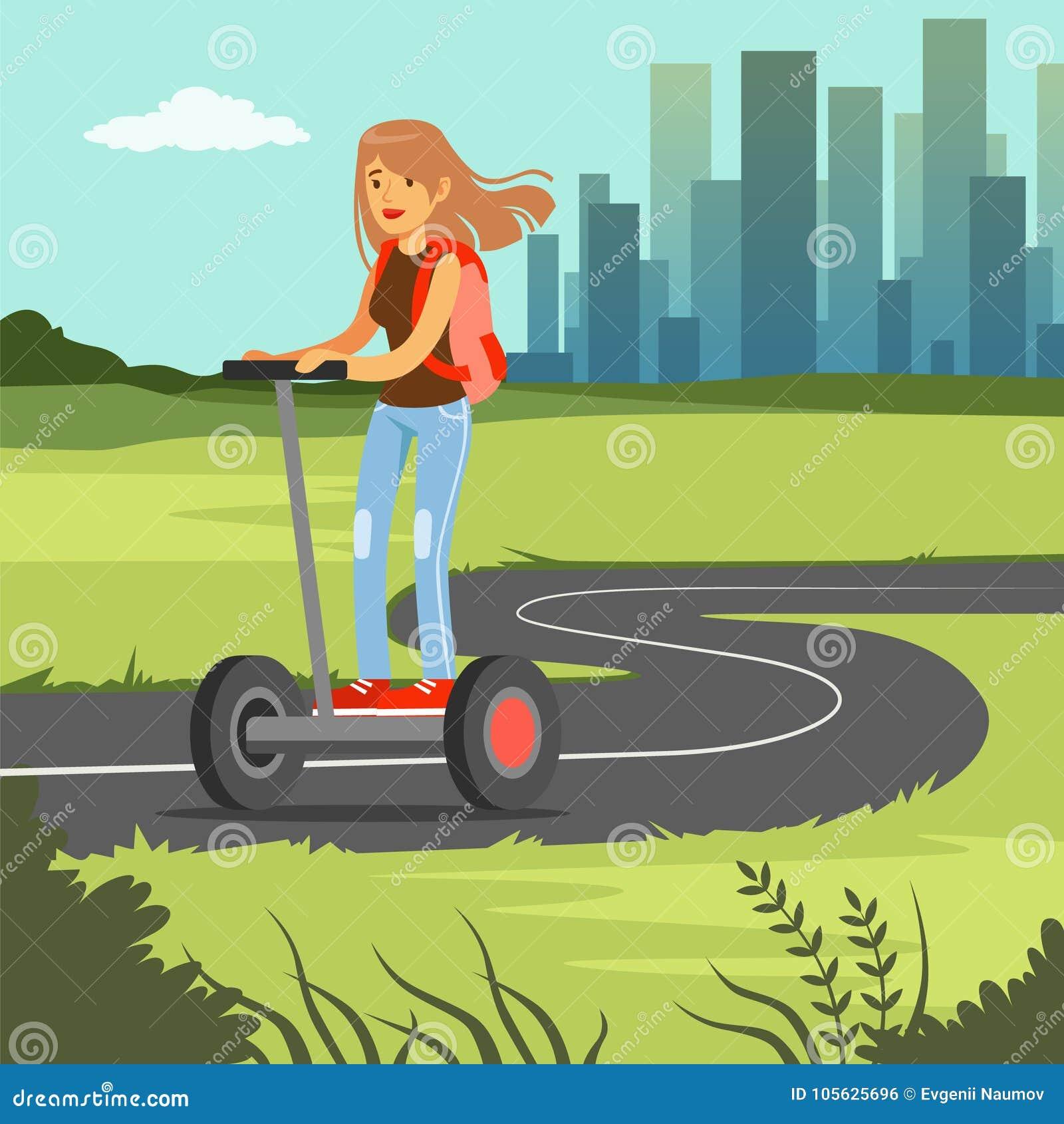Jeune équitation folâtre de femme sur le scooter sur le fond de ville, illustration électrique de vecteur de véhicule de deux rou