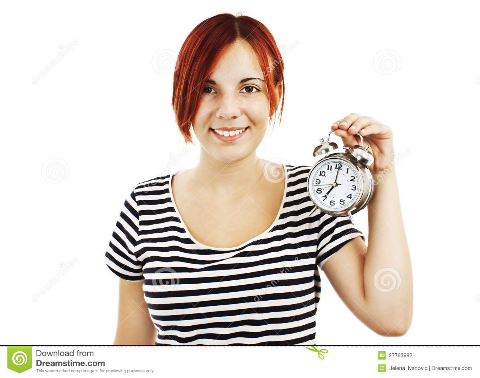 Jeune beau femme avec l horloge
