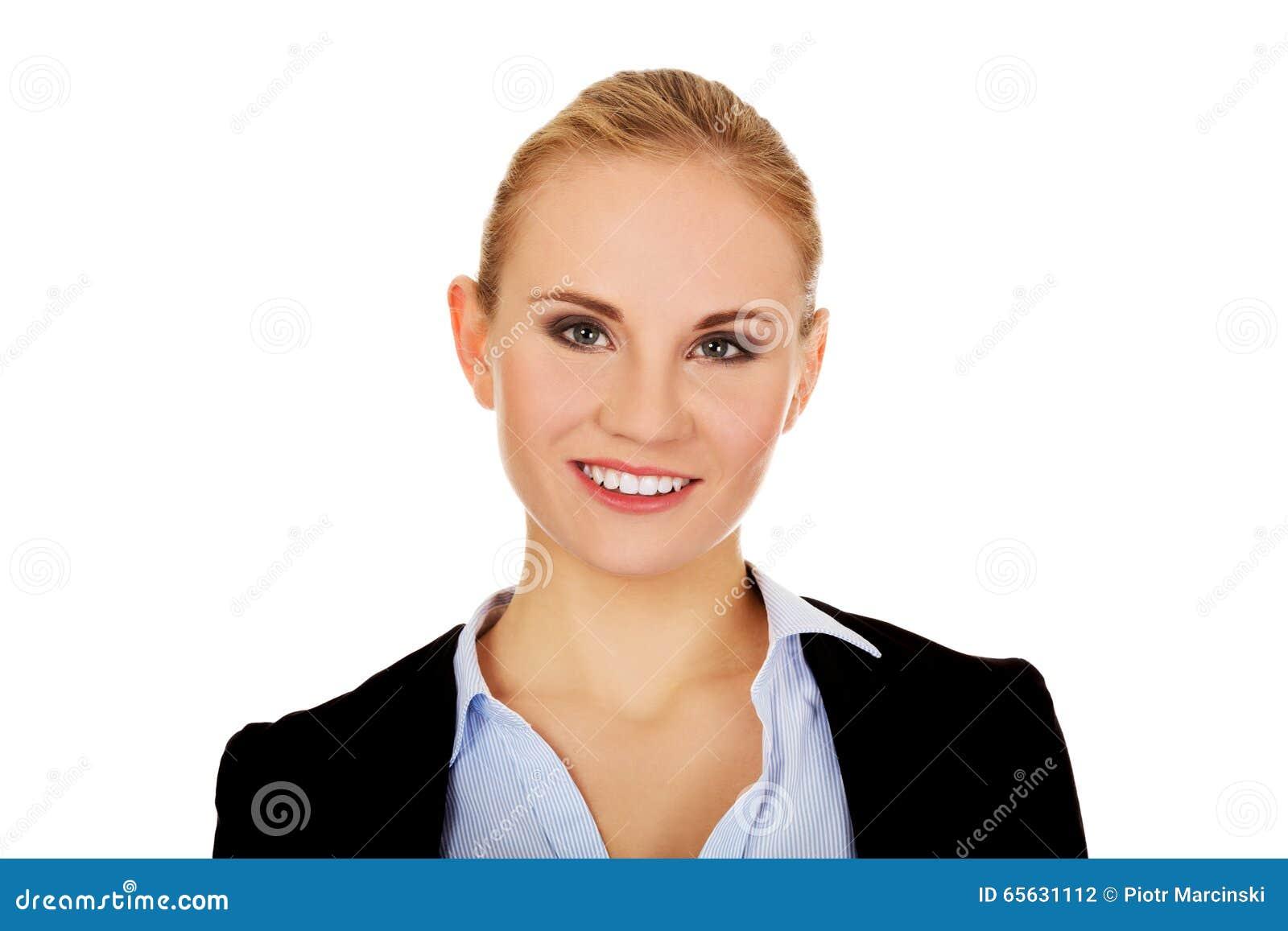 Jeune belle femme de sourire élégante d affaires