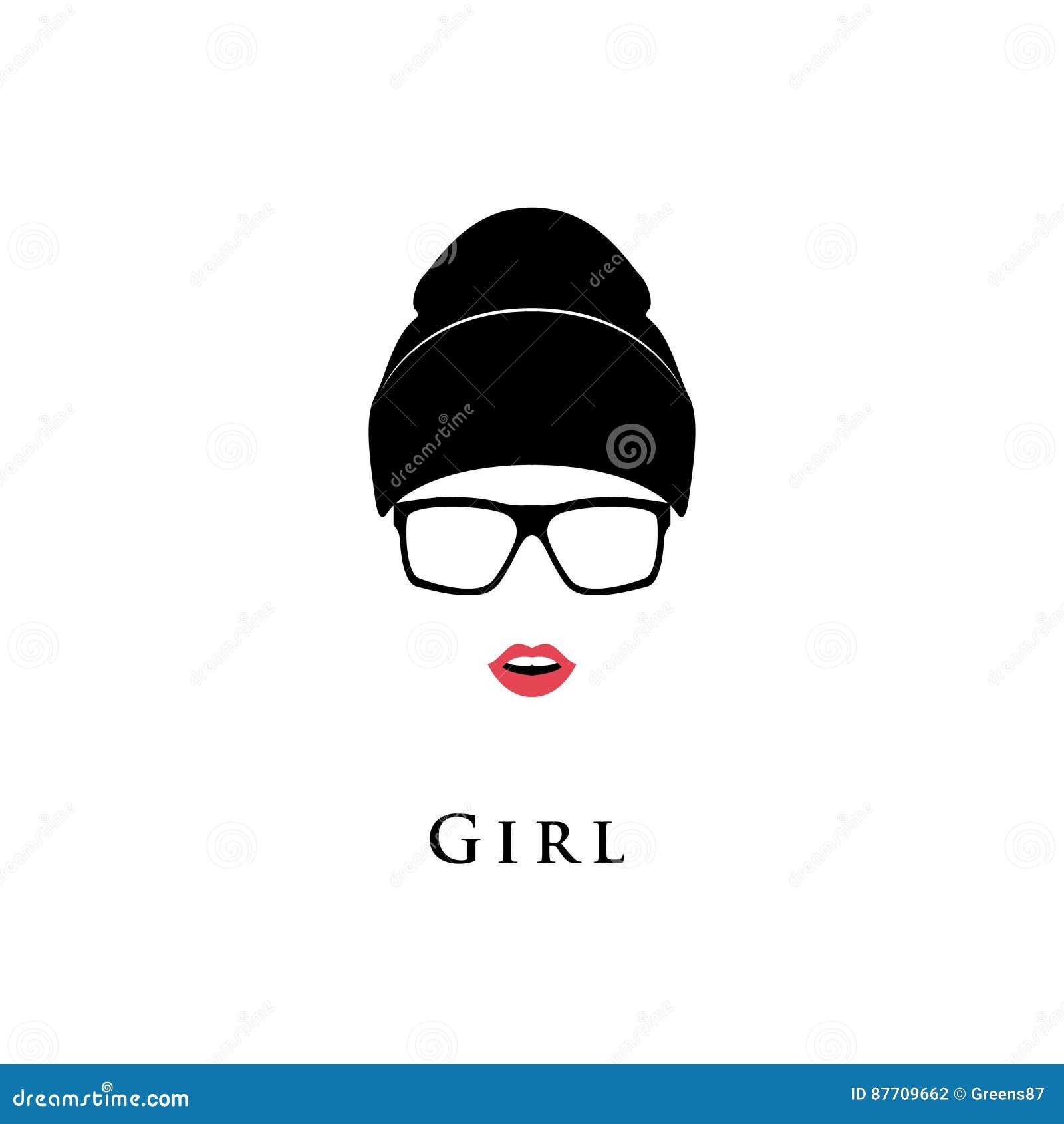 Jeune belle fille Verres, chapeau et avec le rouge à lèvres sur un fond blanc