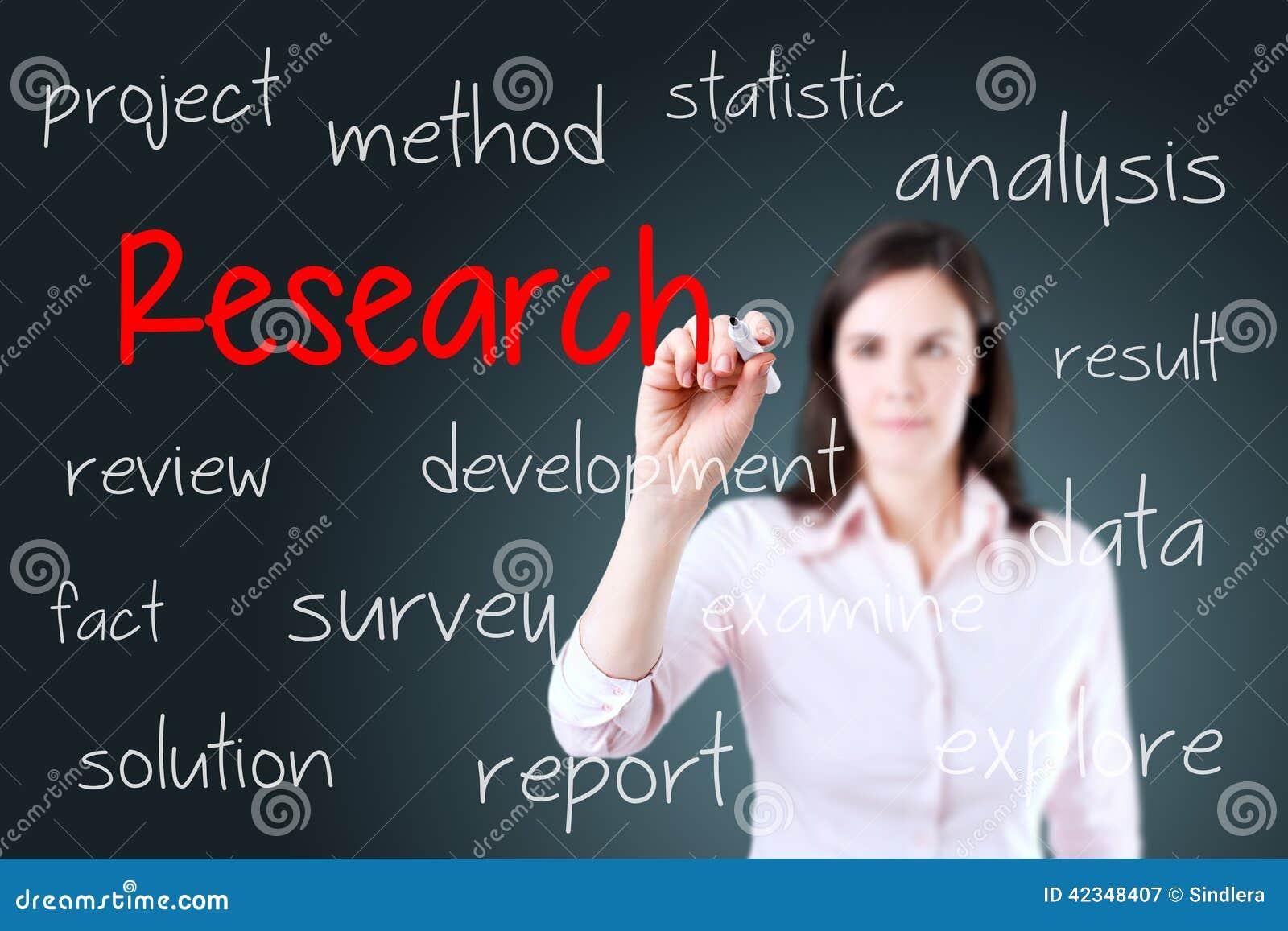Jeune concept de recherches d écriture de femme d affaires Fond pour une carte d invitation ou une félicitation