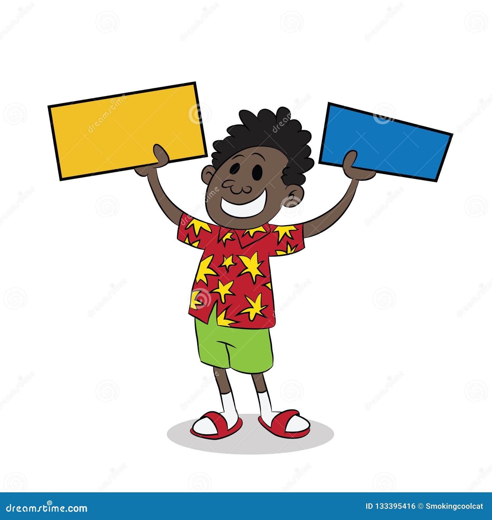 Jeune enfant noir africain retardant deux signes