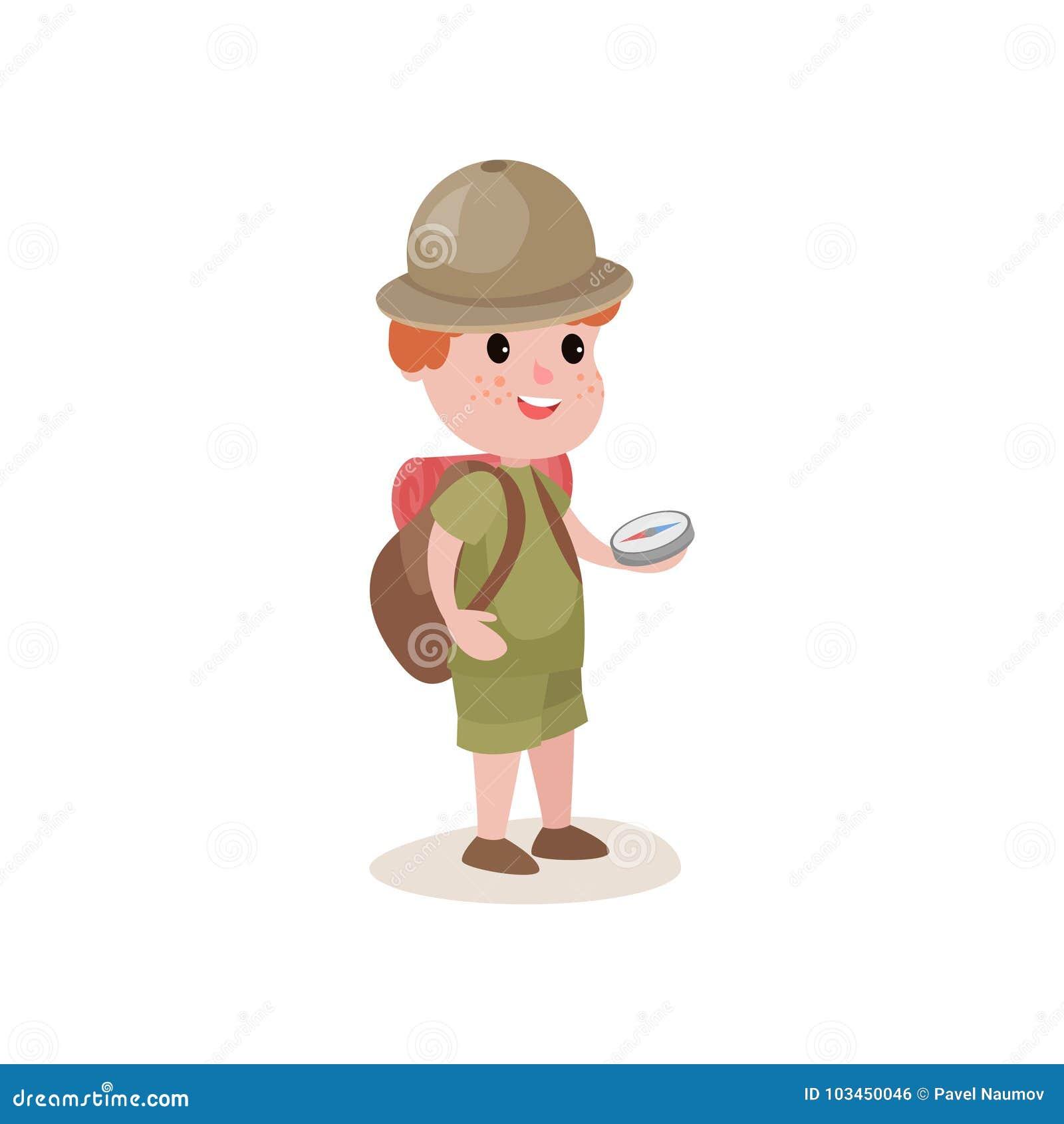 Jeune explorateur avec la boussole dans les mains et le sac à dos sur des épaules