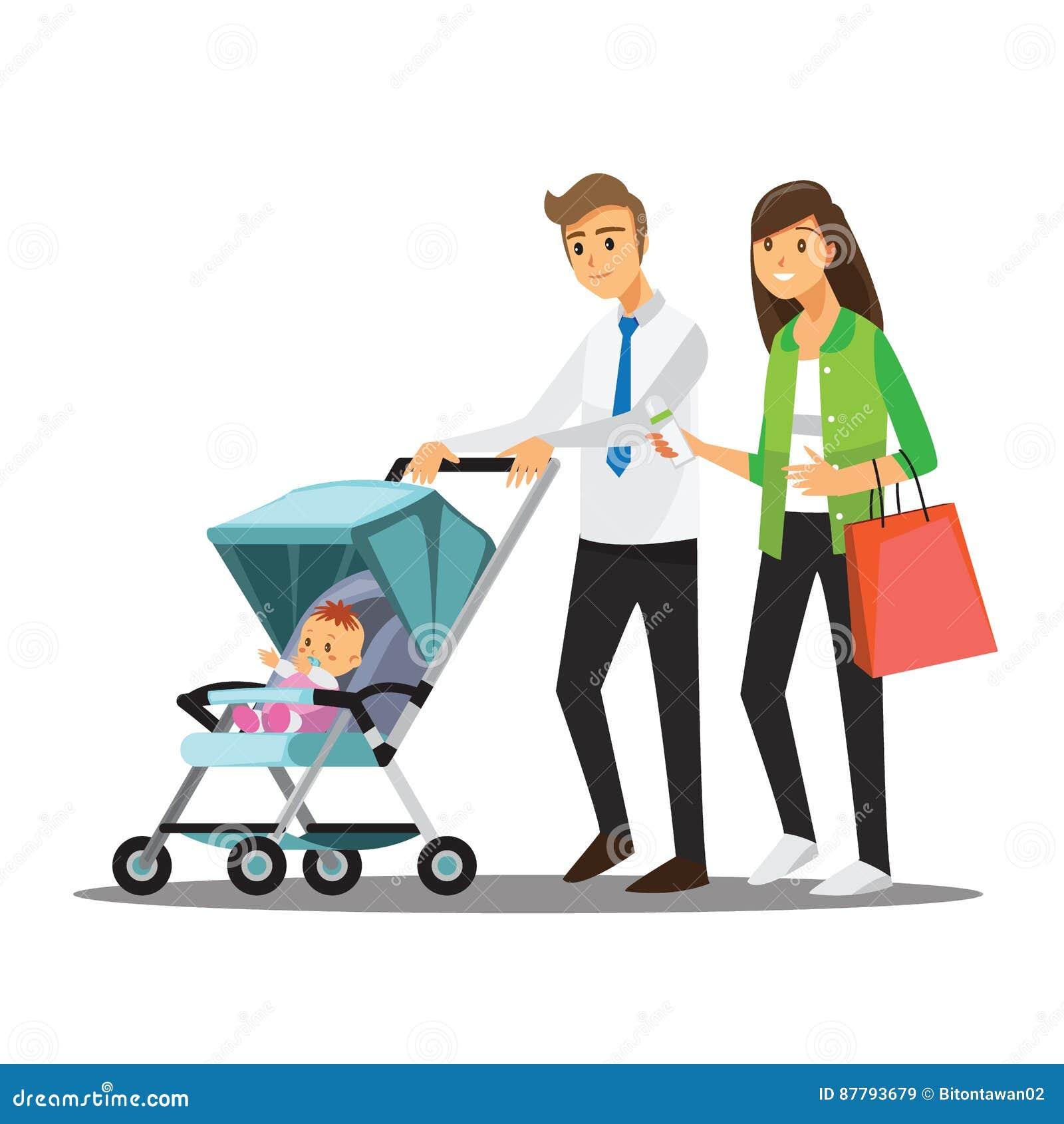 Jeune famille avec le b b dans la poussette bande - Poussette dessin ...