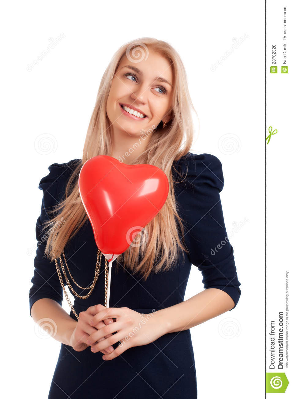jeune femme avec des ballons de forme de coeur photo stock image 28702320. Black Bedroom Furniture Sets. Home Design Ideas