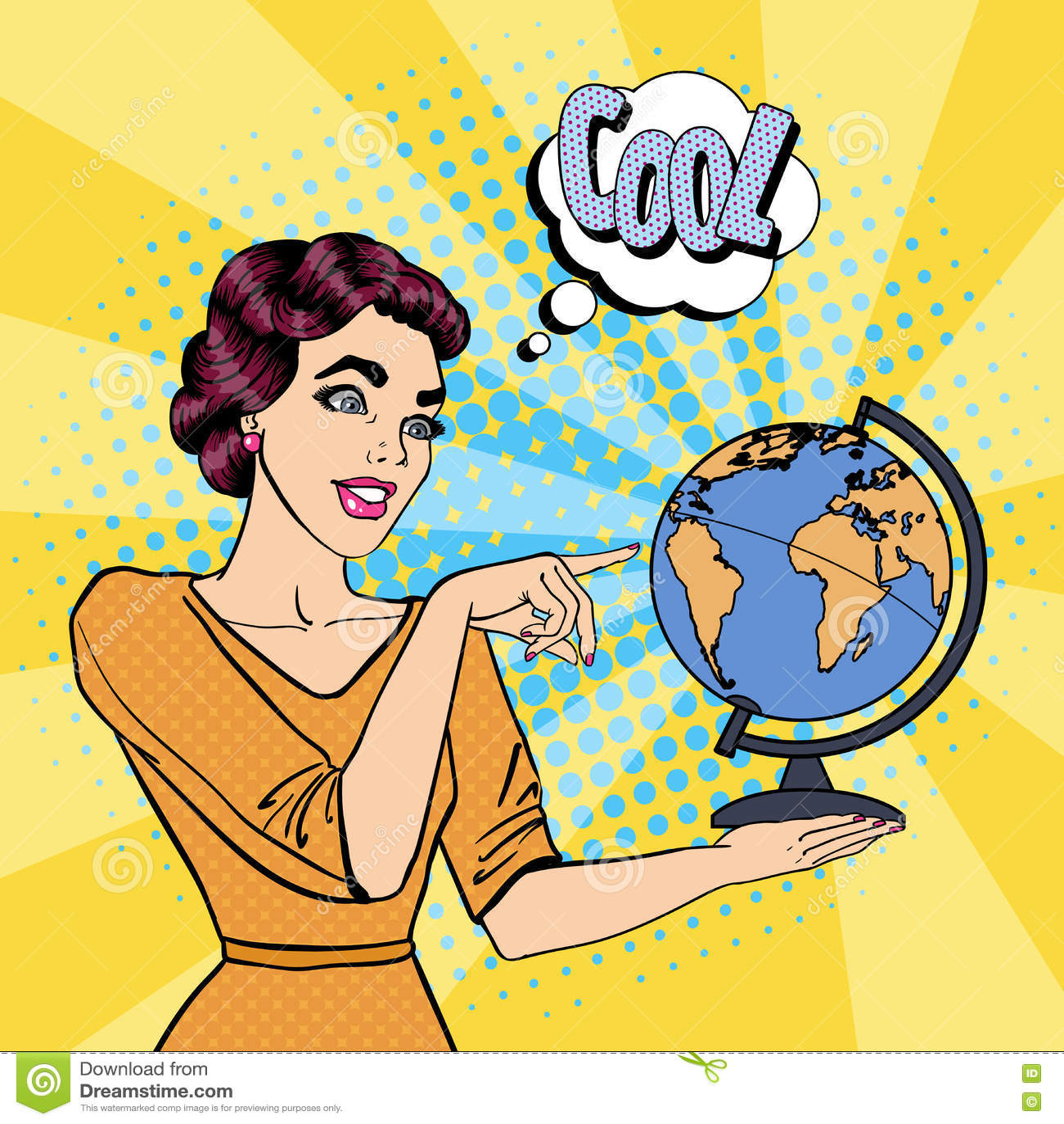 Jeune femme avec le globe Art de bruit