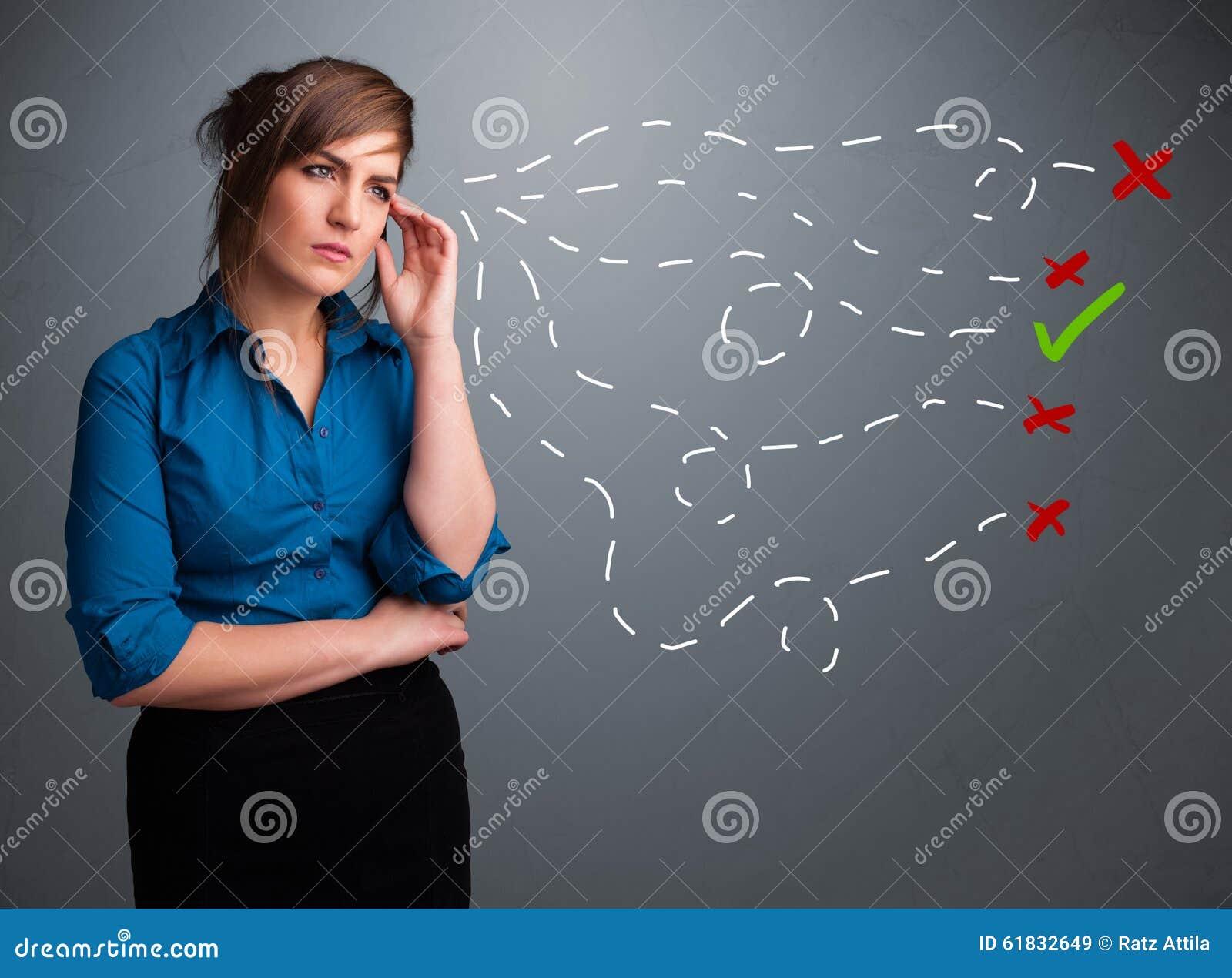 jeune femme choisissant entre de bons et faux signes image stock image du cr ativit. Black Bedroom Furniture Sets. Home Design Ideas