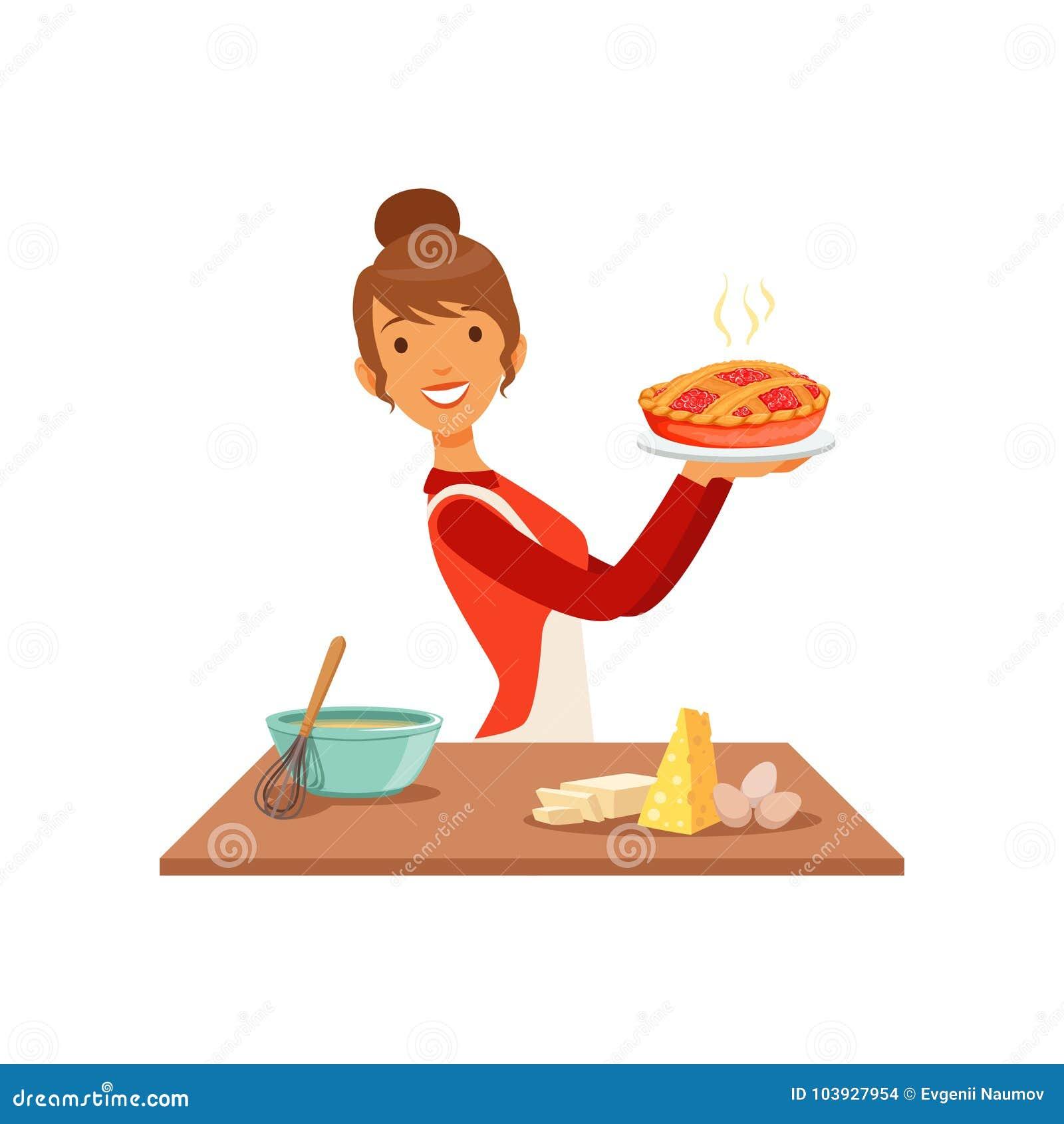 Jeune femme de sourire tenant le tarte fraîchement cuit au four, fille de femme au foyer faisant cuire la nourriture dans l illus