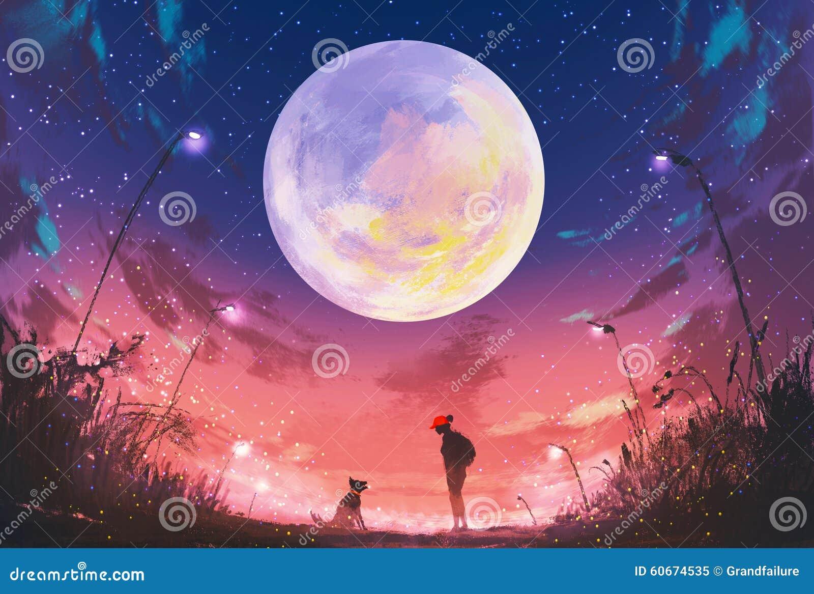 Jeune femme et chien la nuit beau avec la lune énorme ci-dessus