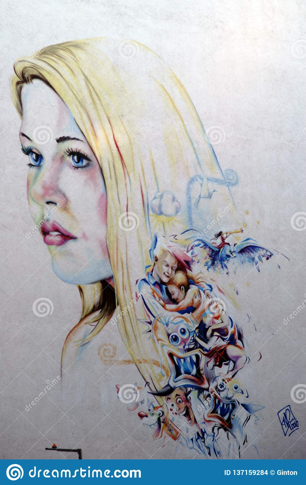 Jeune Femme Et Personnages De Dessin Animé De Graffiti Image