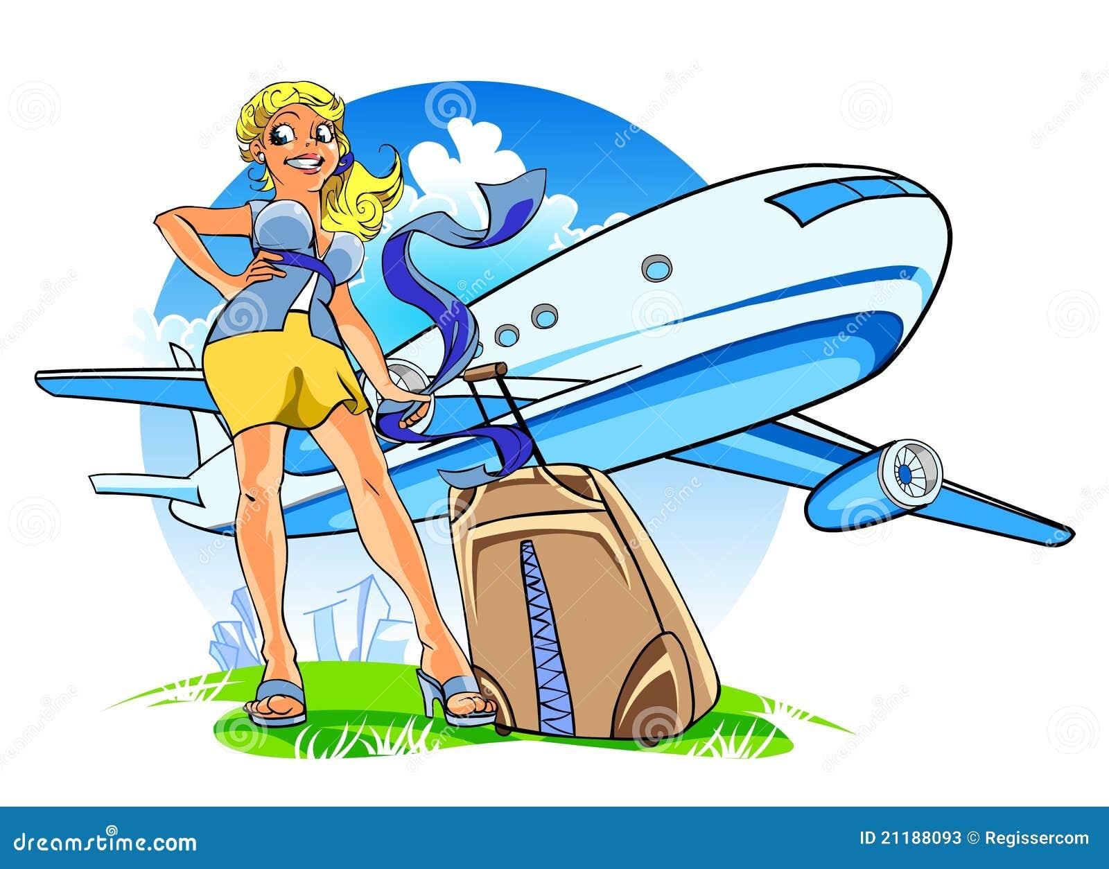 Jeune femme heureux avec une valise illustration stock - Dessin de valise ...
