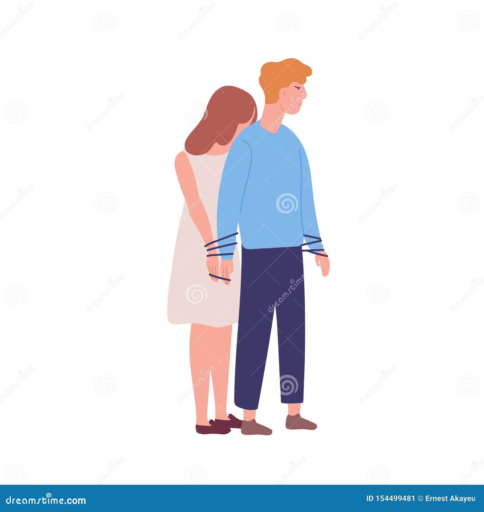 Jeune femme malheureuse attachée pour équiper Concept de codependency, relations codependent Maladie mentale, problème comporteme