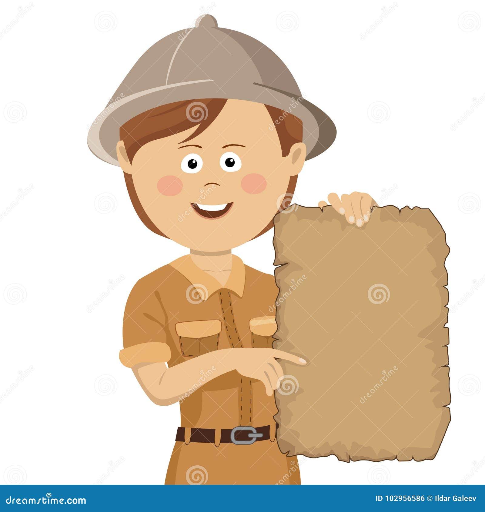 Jeune femme mignonne d explorateur dans le chapeau de safari tenant la carte de trésor de rouleau
