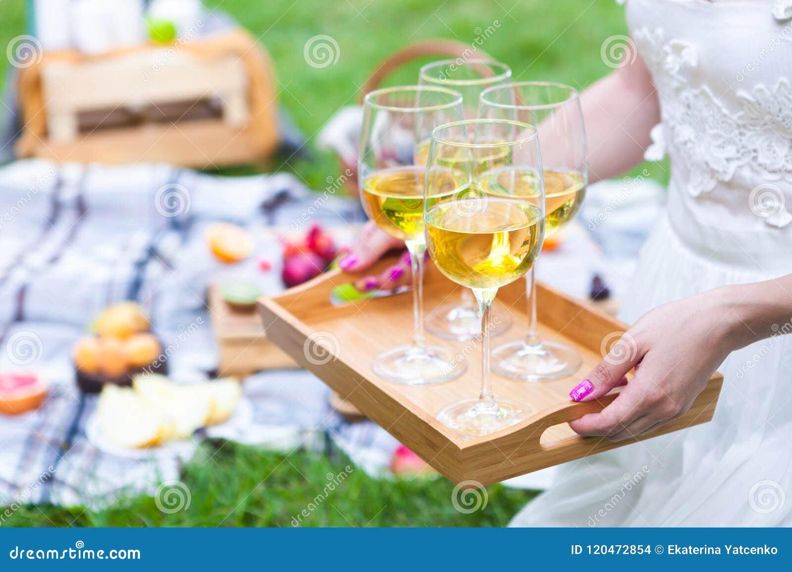Jeune femme tenant un plat avec du vin blanc en verre à la somme de pique-nique