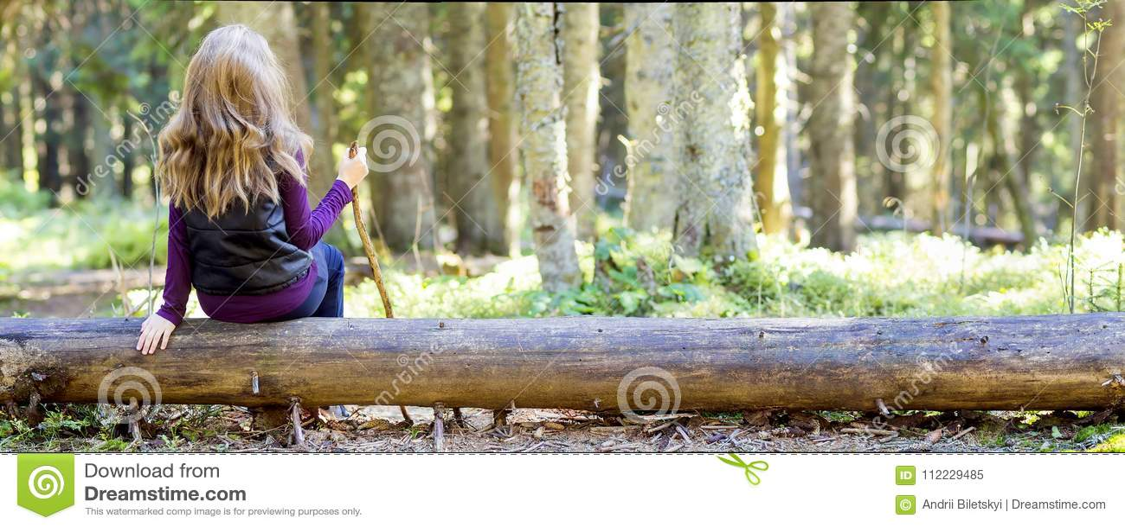 Jeune fille avec de longs cheveux se reposant sur une forêt d automne d identifiez-vous d arbre