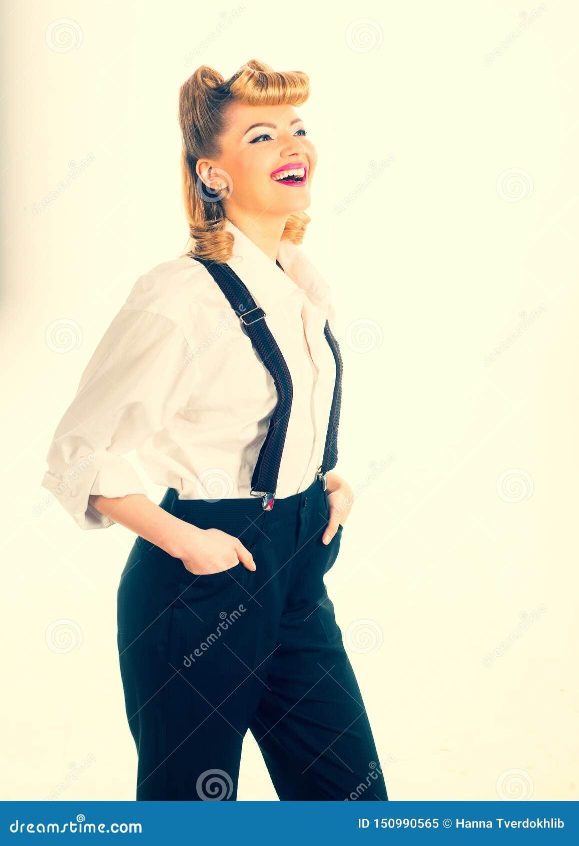 Jeune fille dans le pantalon Femme heureux Femme d affaires - 2
