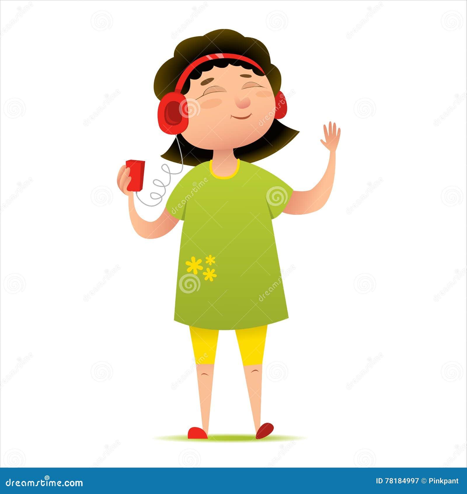 jeune fille heureuse coutant la musique sur son t l phone ou joueur fut personnage de dessin. Black Bedroom Furniture Sets. Home Design Ideas