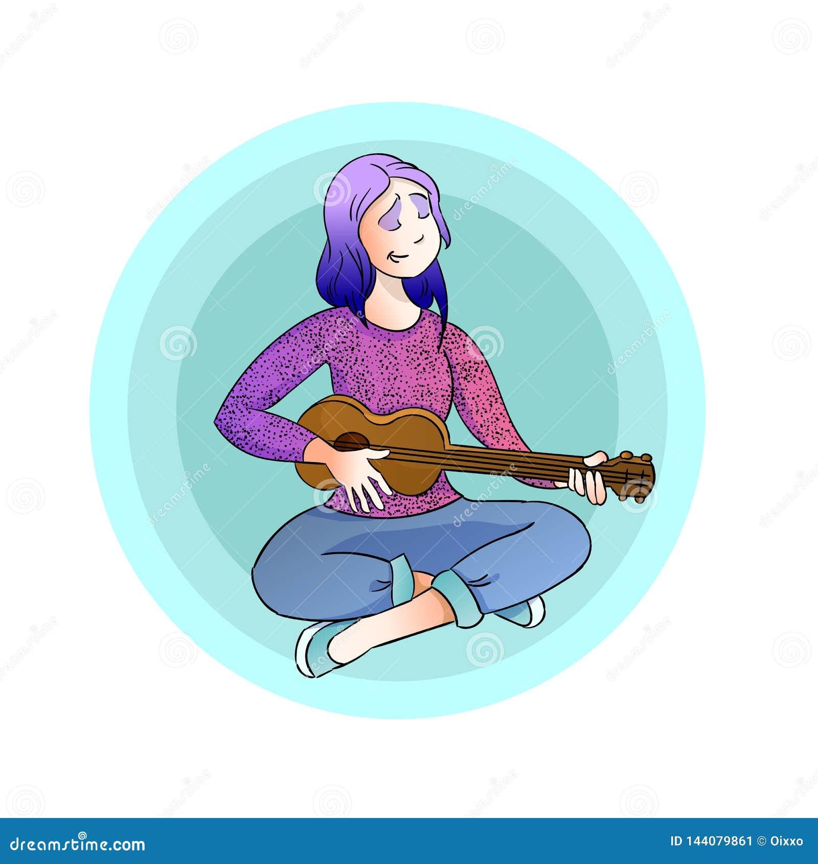 Jeune fille jouant la guitare et le chant Illustration de vecteur