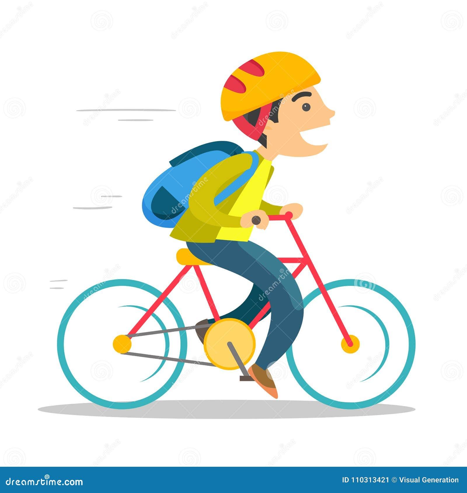 Jeune garçon blanc caucasien montant une bicyclette