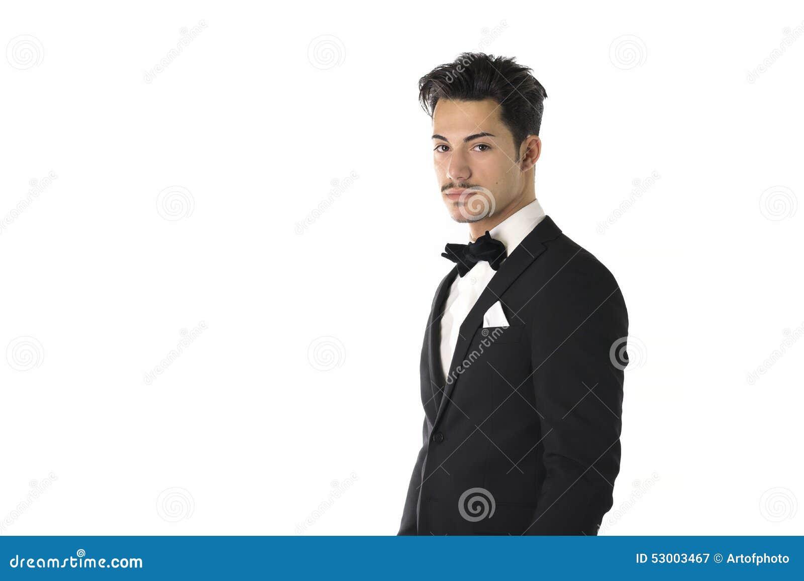 Beau Costume Homme avec jeune homme élégant beau avec le costume et le noeud papillon