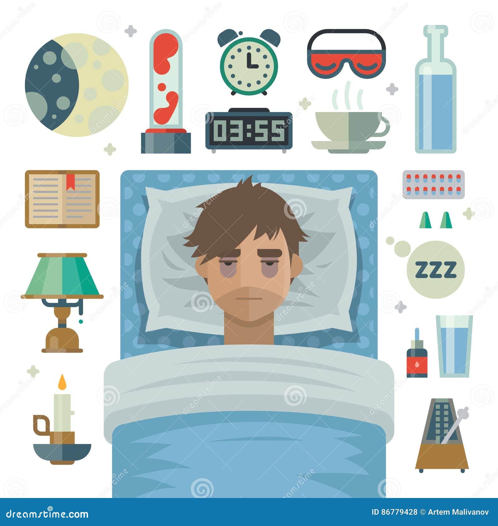 Jeune homme avec l insomnie et les articles de problème de sommeil