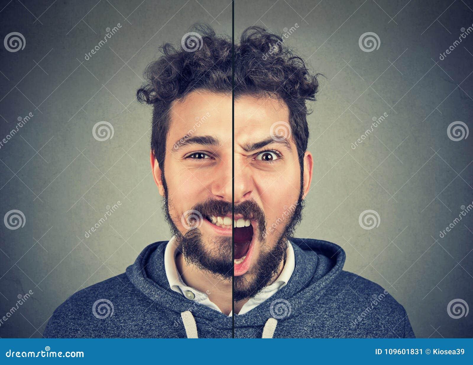 Jeune homme avec la double expression de visage