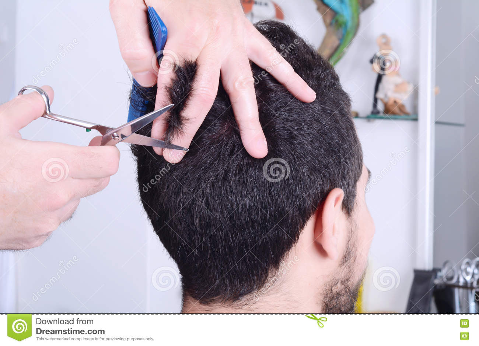 jeune homme ayant une coupe de cheveux avec des ciseaux. Black Bedroom Furniture Sets. Home Design Ideas