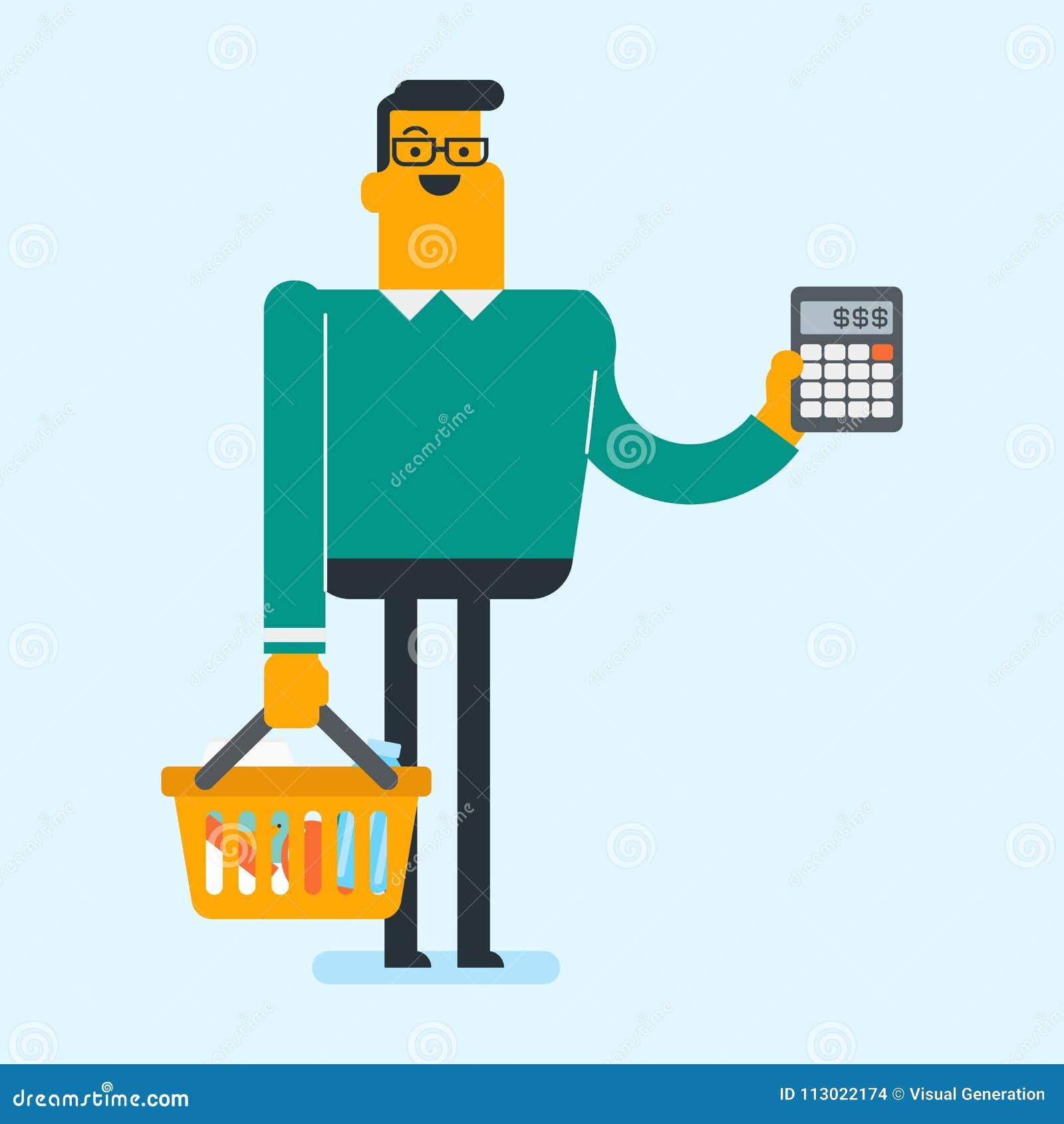 Jeune homme blanc caucasien faisant des achats