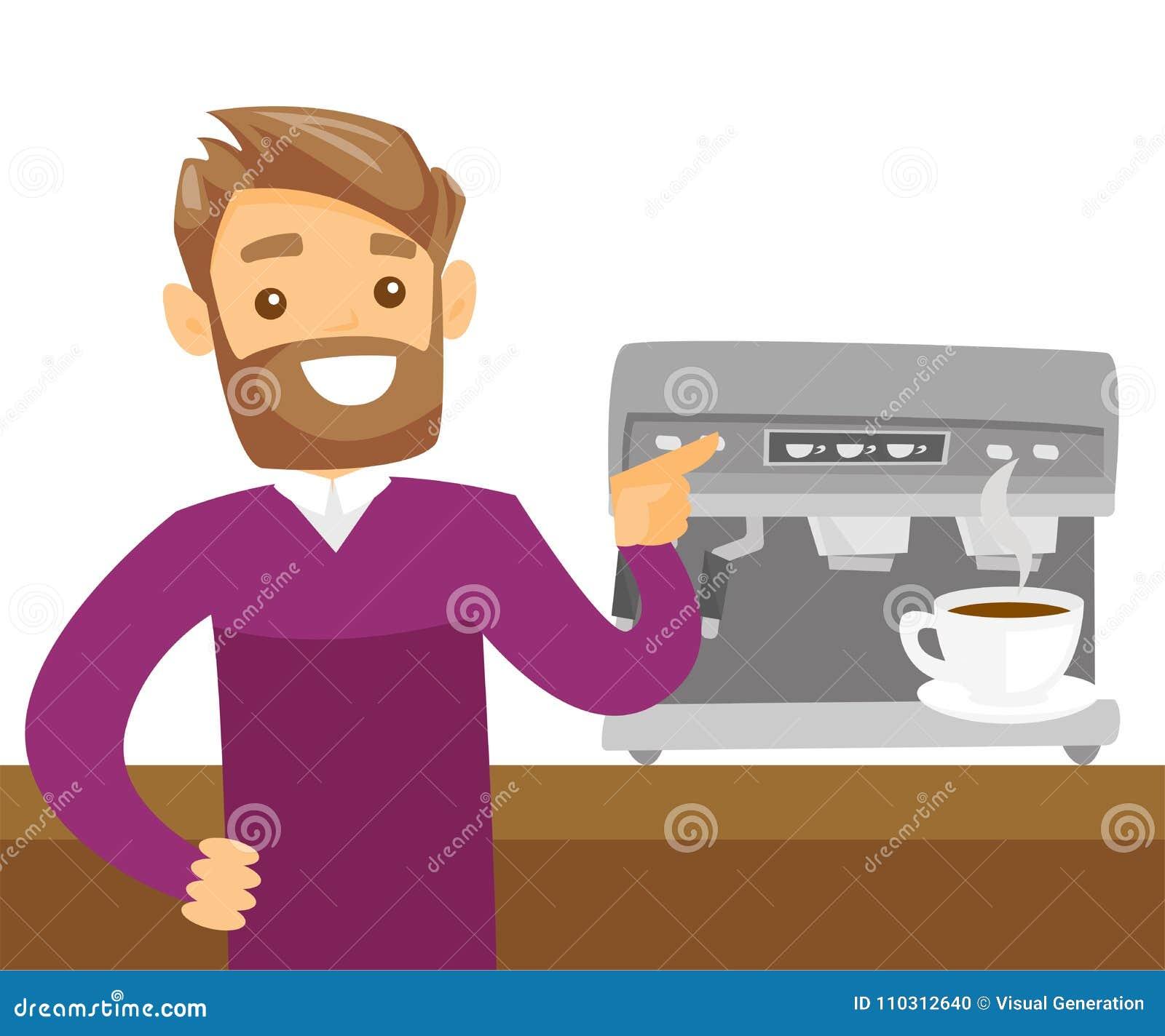Jeune homme blanc caucasien faisant le café