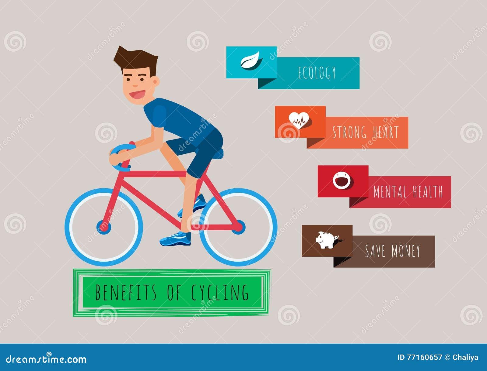 Jeune homme conduisant une bicyclette Les avantages du recyclage Calibre d infographics de bicyclette