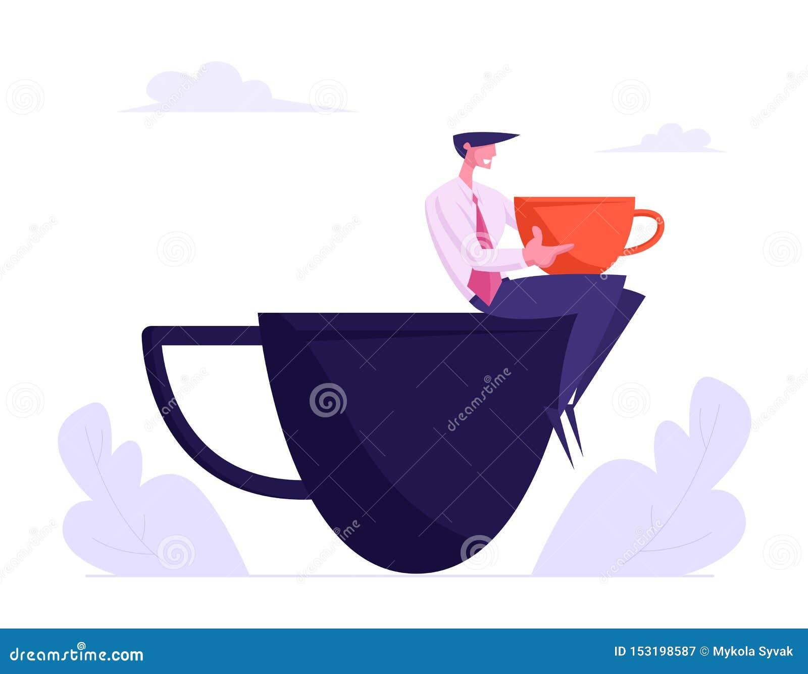 Jeune homme d affaires dans le costume formel détendant sur la pause-café se reposant sur la tasse énorme, caractère masculin de