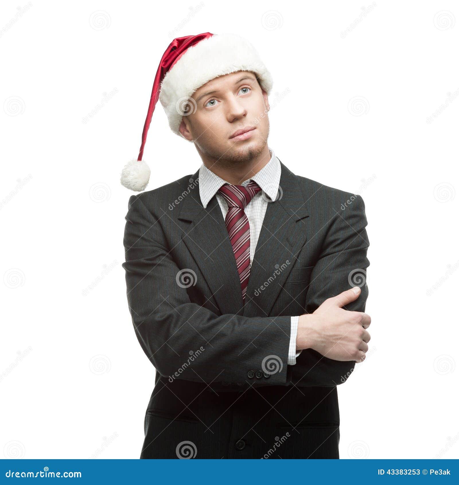 Jeune homme d affaires pensif dans le chapeau de Santa