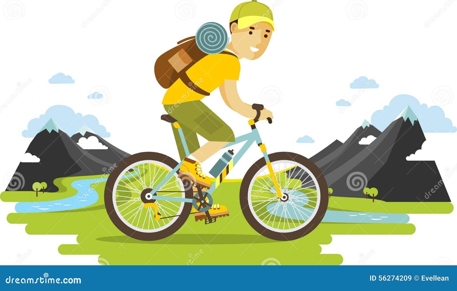 Jeune homme de cycliste montant un vélo sur le fond de montagne