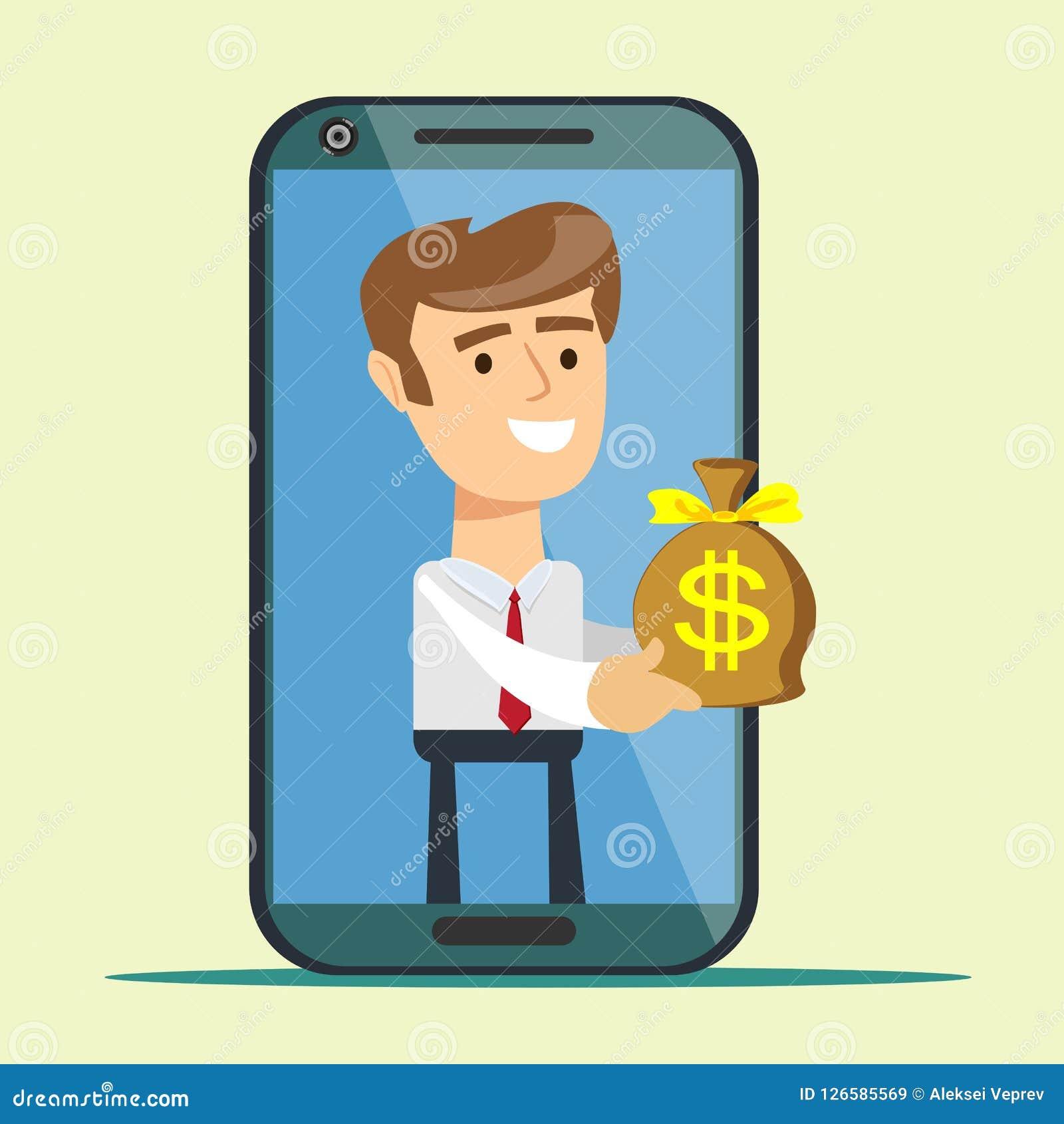 Jeune homme de l écran de smartphone donnant le sac d argent,