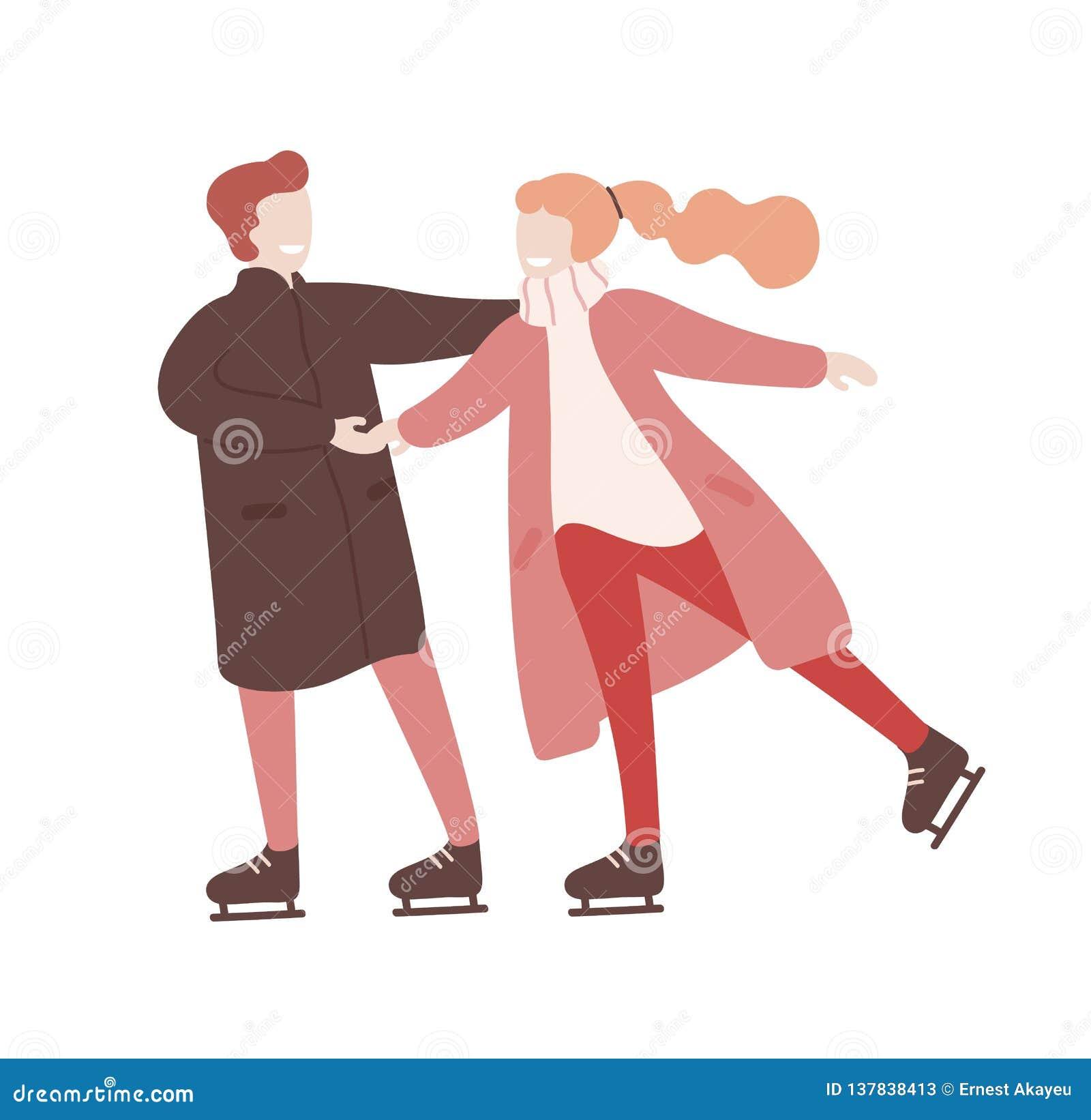 Jeune homme et femme tenant des mains et le patinage de glace ensemble Activité récréationnelle saisonnière Datte romantique Dess