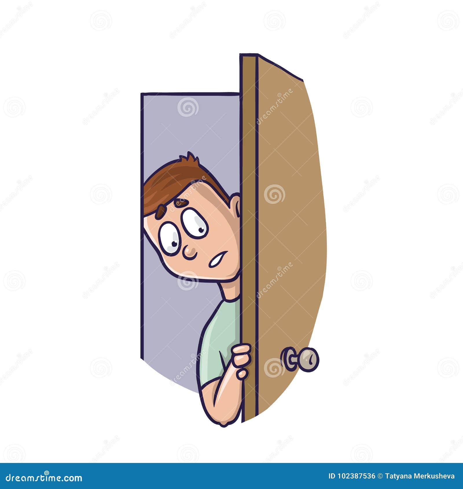 Jeune homme jetant un coup d oeil dans légèrement la porte ouverte Concept d agoraphobie