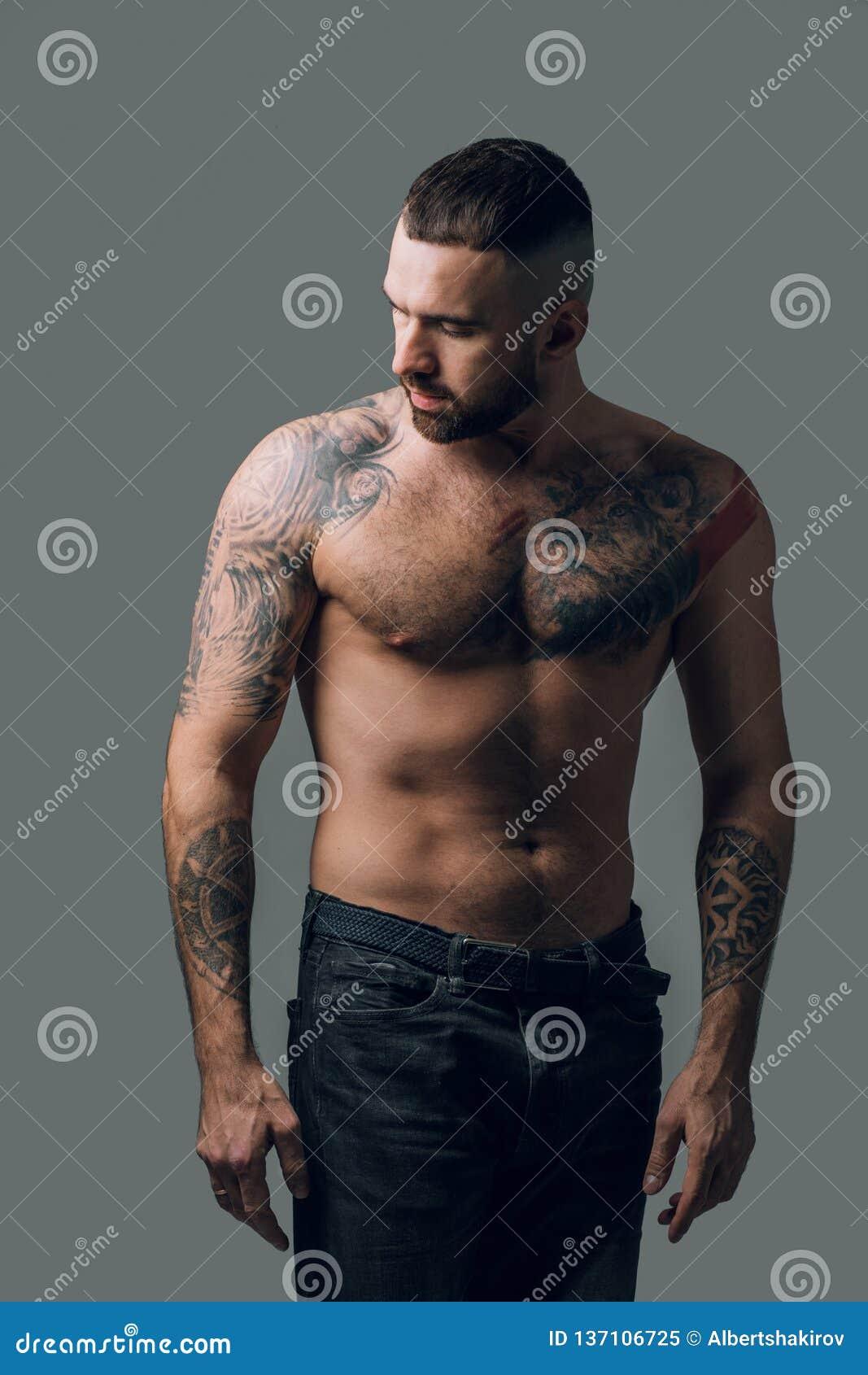 9f47c750782 Jeune homme magnifique dans des jeans regardant de côté Fermez-vous vers le  haut de la photo Projectile de studio type avec le beau corps corps